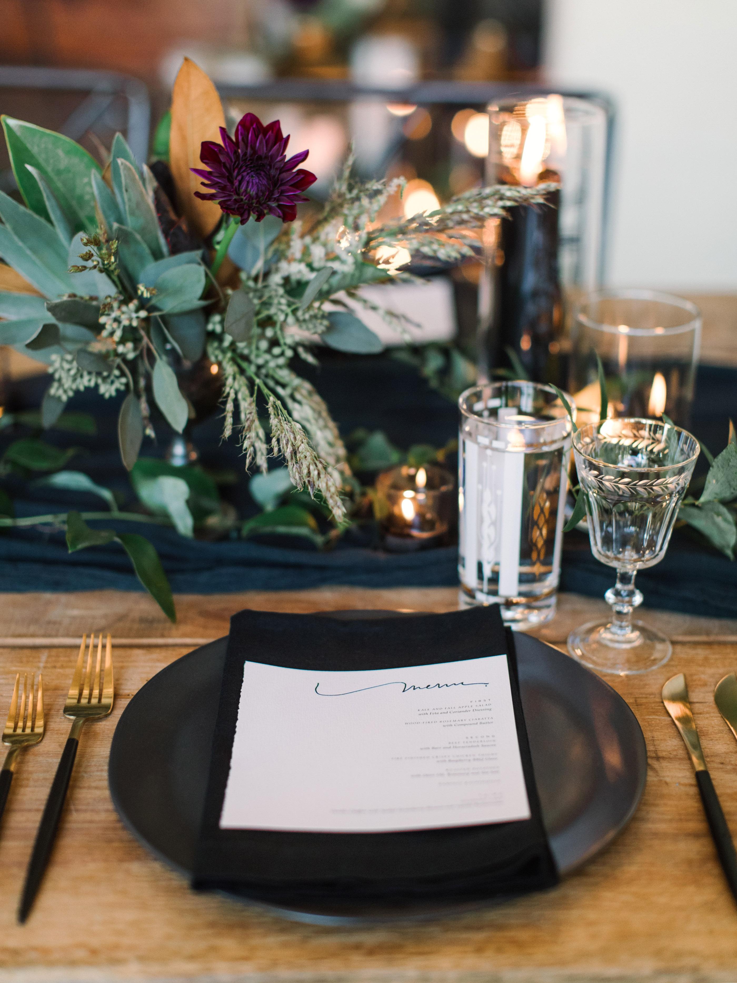 wedding placesetting black