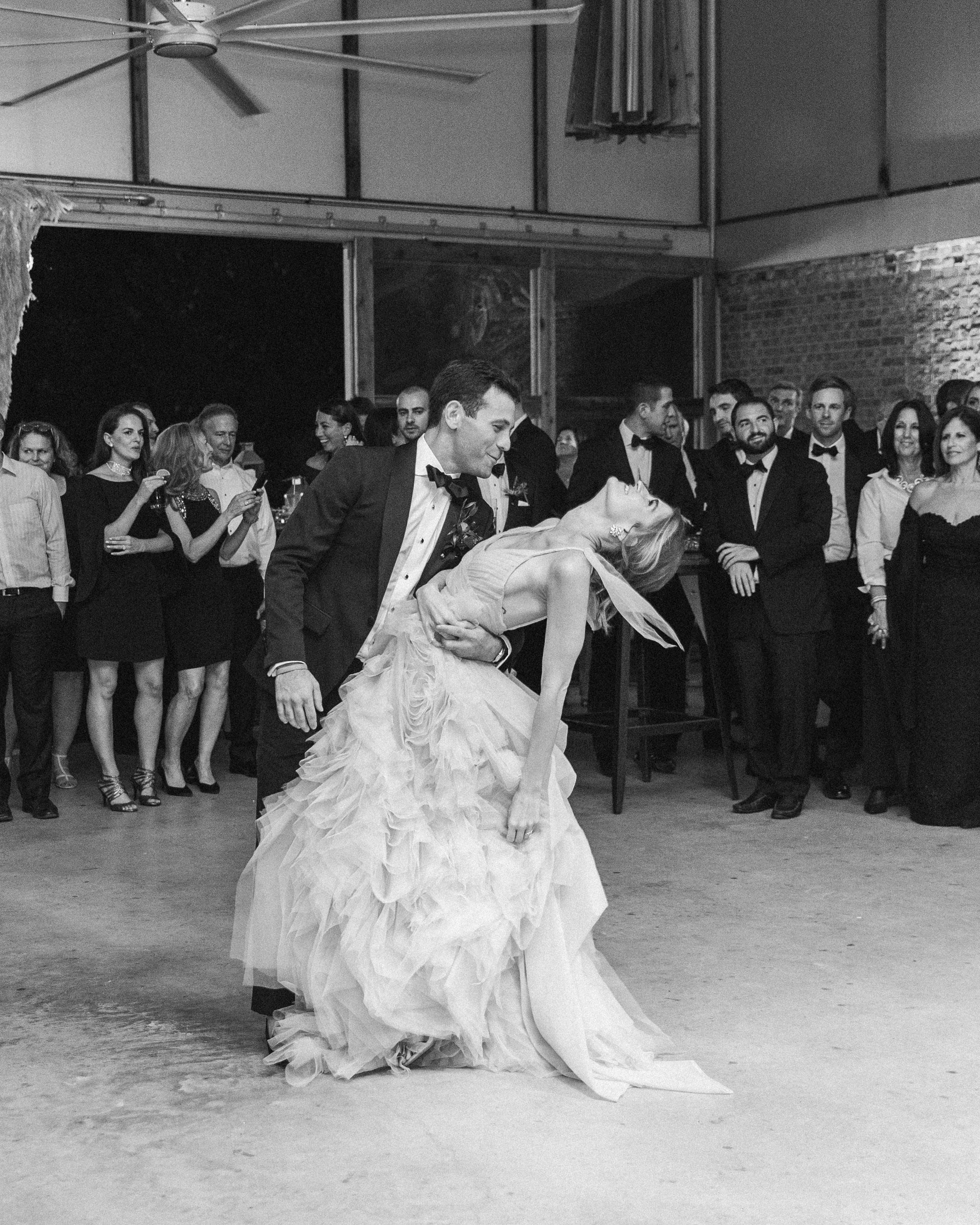 wedding first dance black white dip