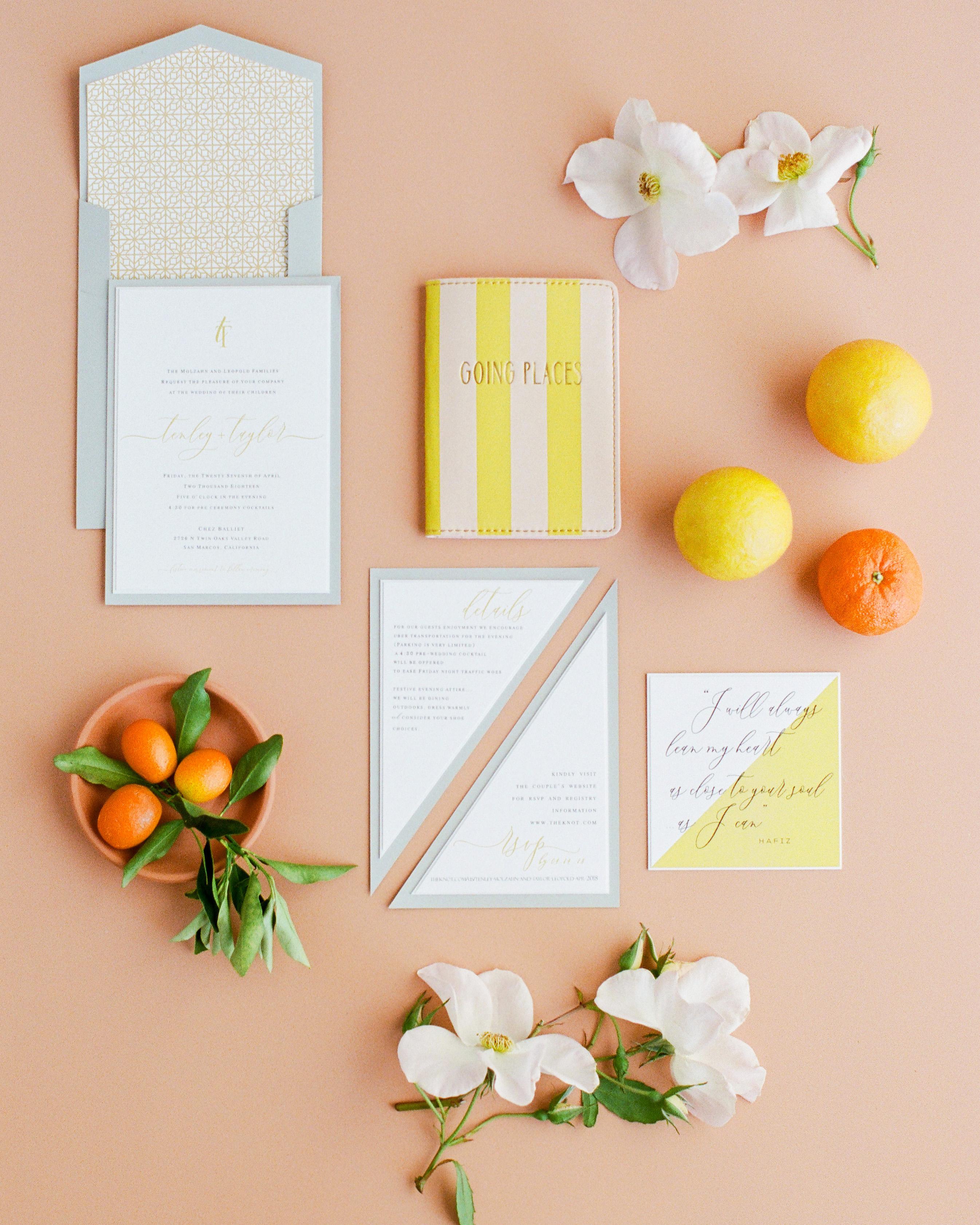 Tenley molzahn taylor leopold wedding invitations orange