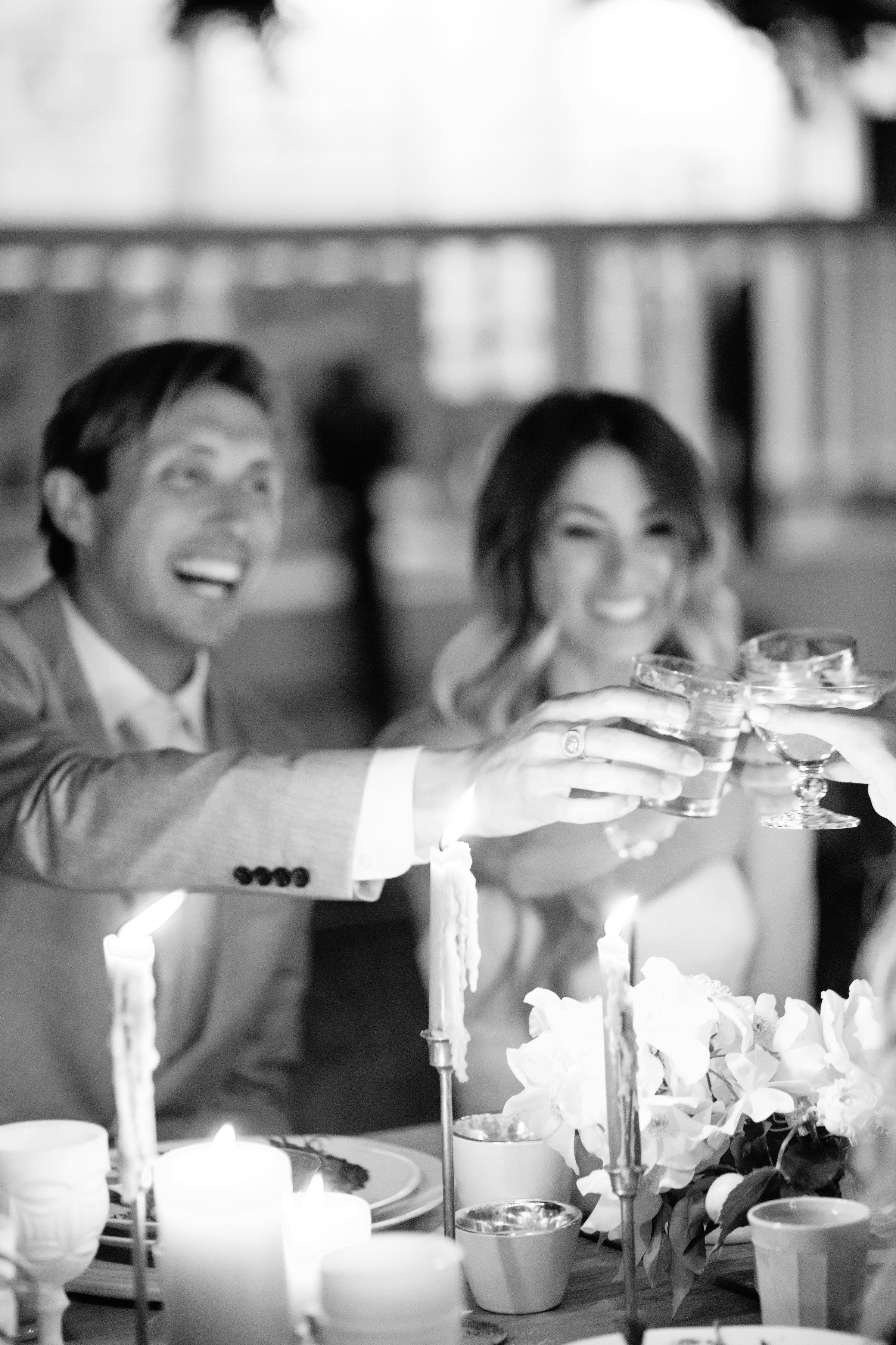 Tenley molzahn taylor leopold wedding toasts black and white