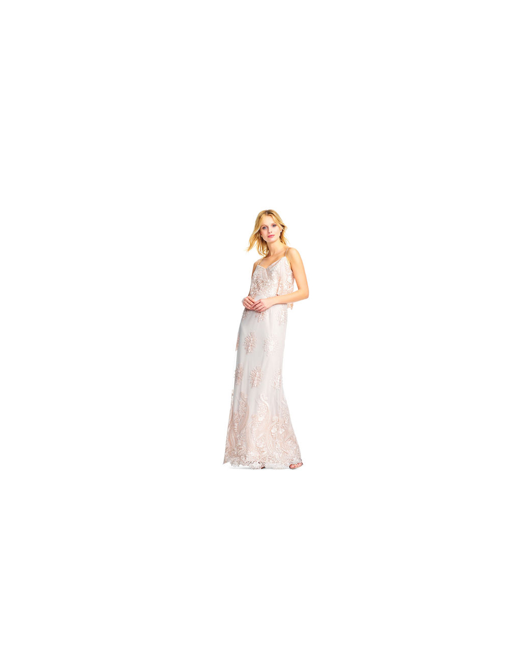 lace bridesmaid dresses adrianna papell white