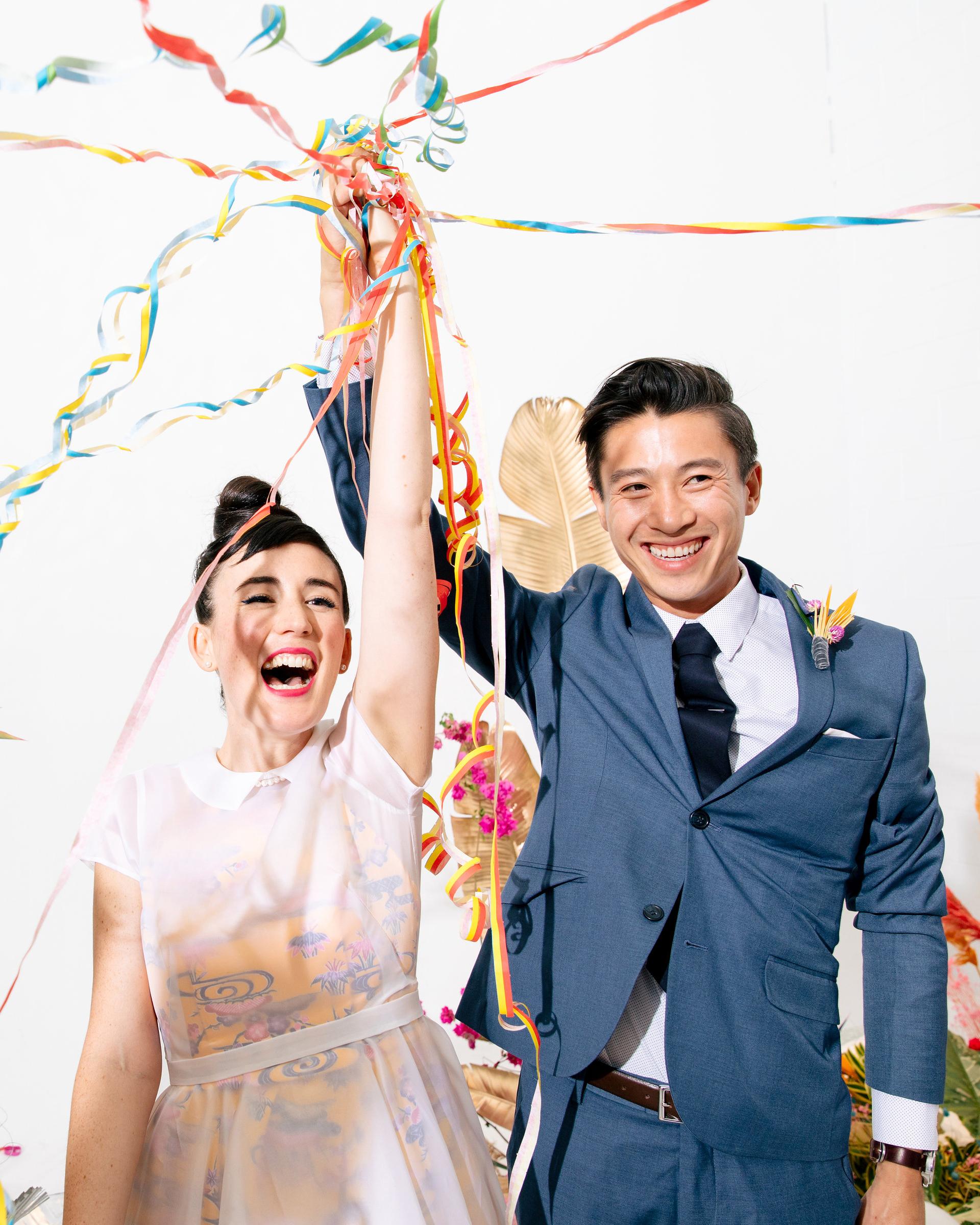 tashina huy colorful wedding couple streamers