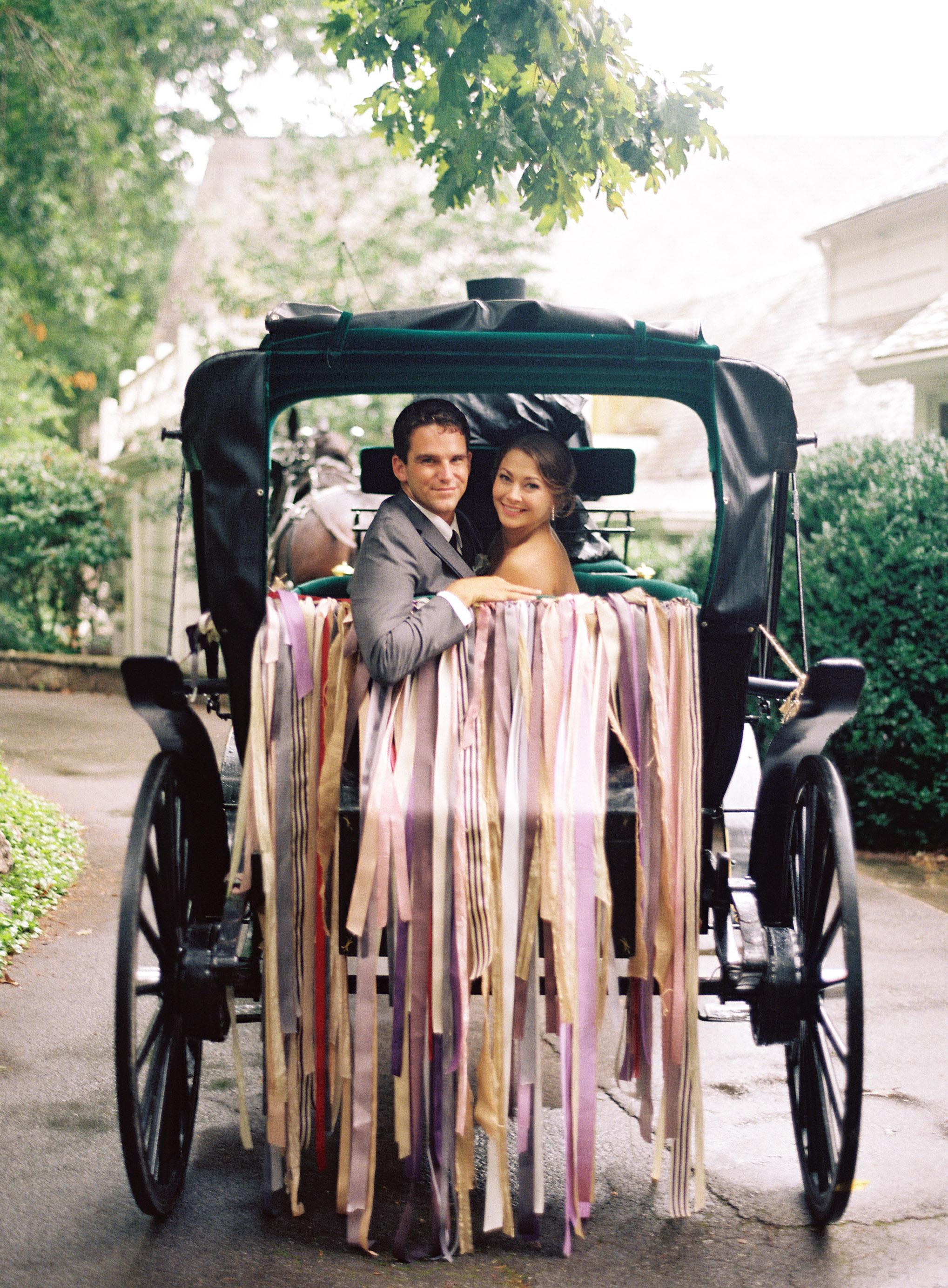wedding exits horse carriage clark brewer