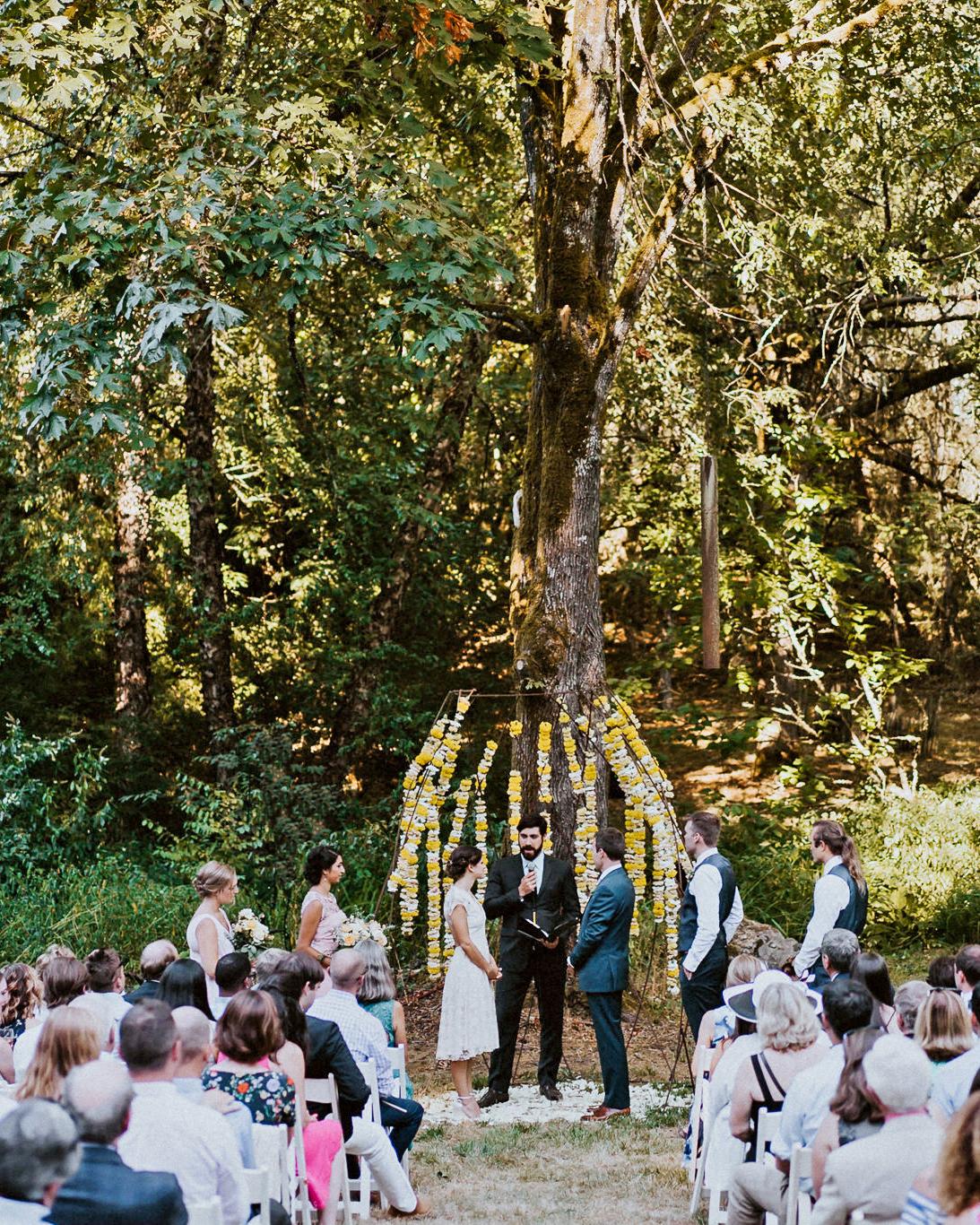amy nick wedding ceremony tree