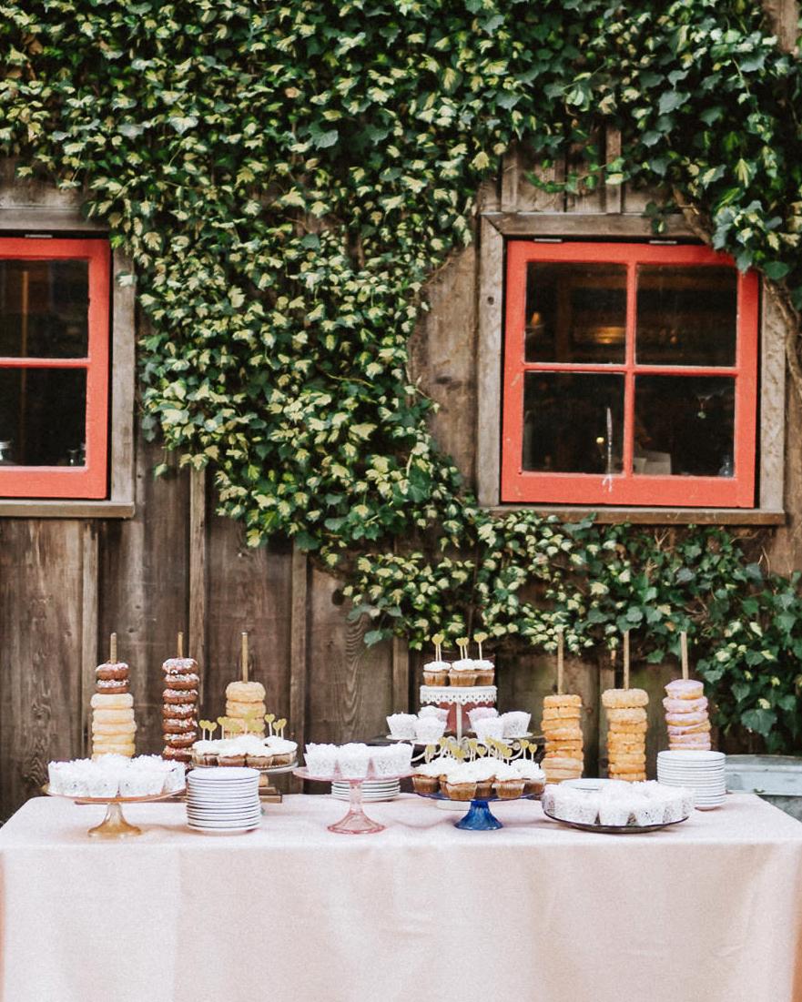 amy nick wedding desserts table
