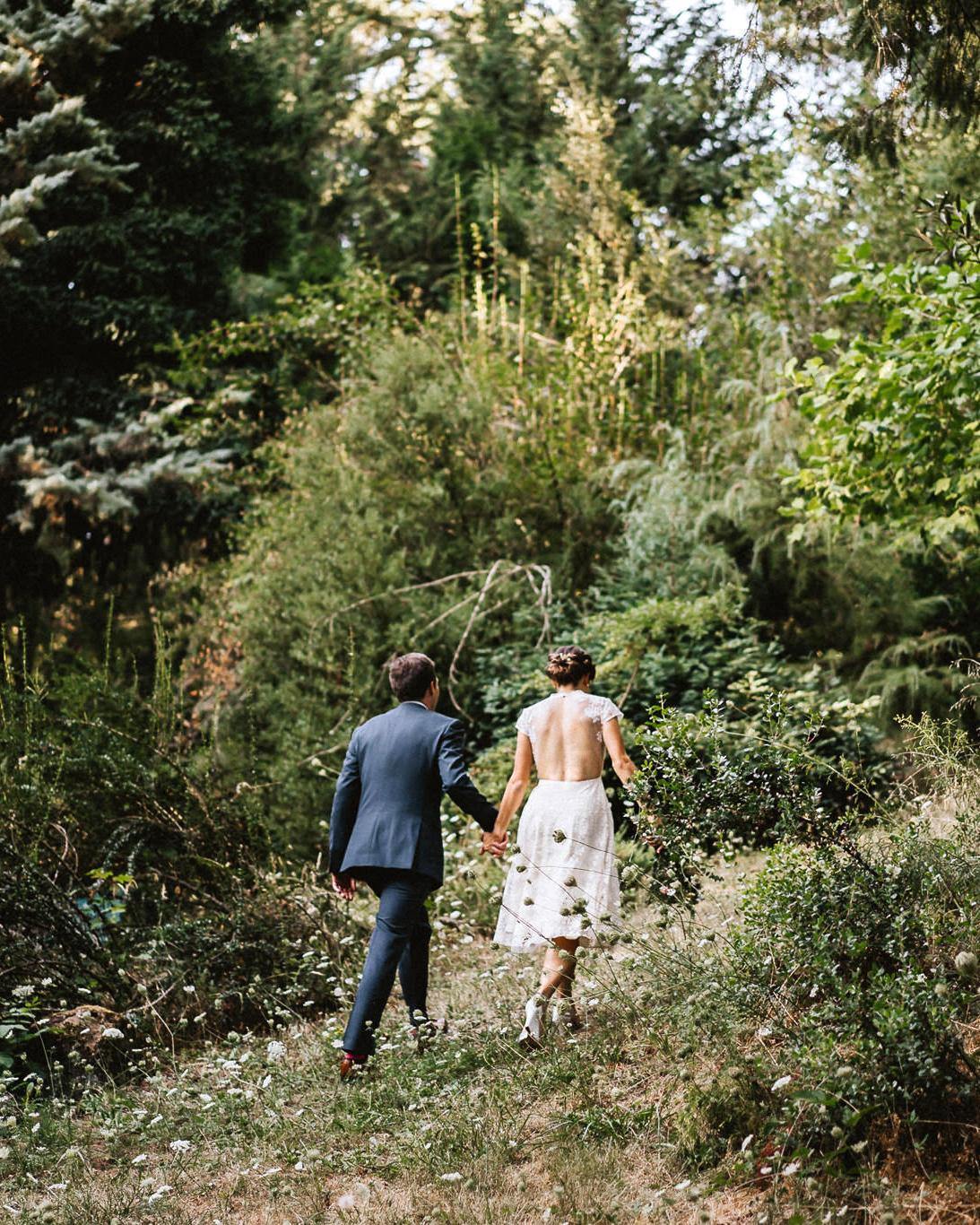 amy nick wedding couple walk