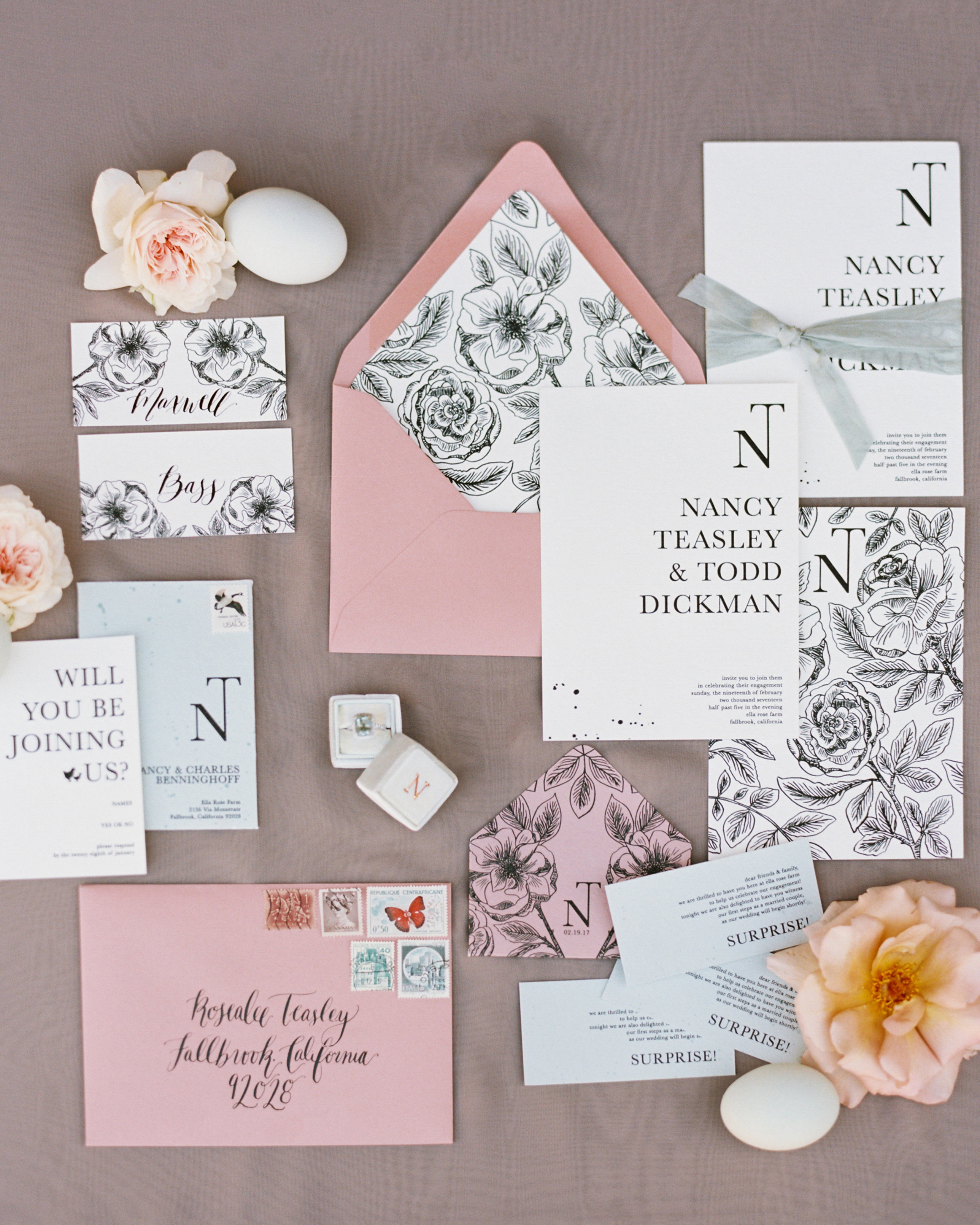 surprise wedding stationery suite