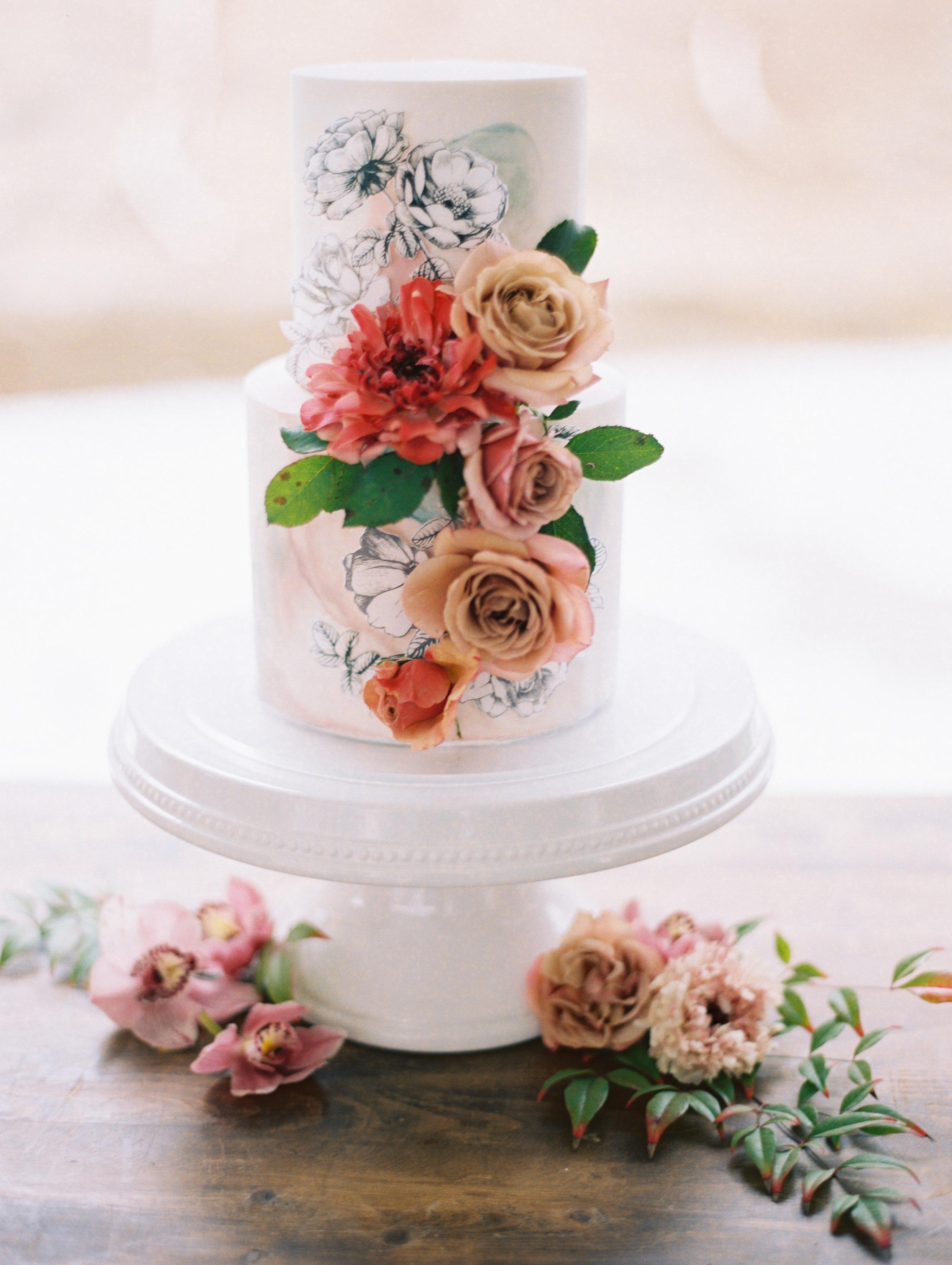 surprise wedding cake flowers