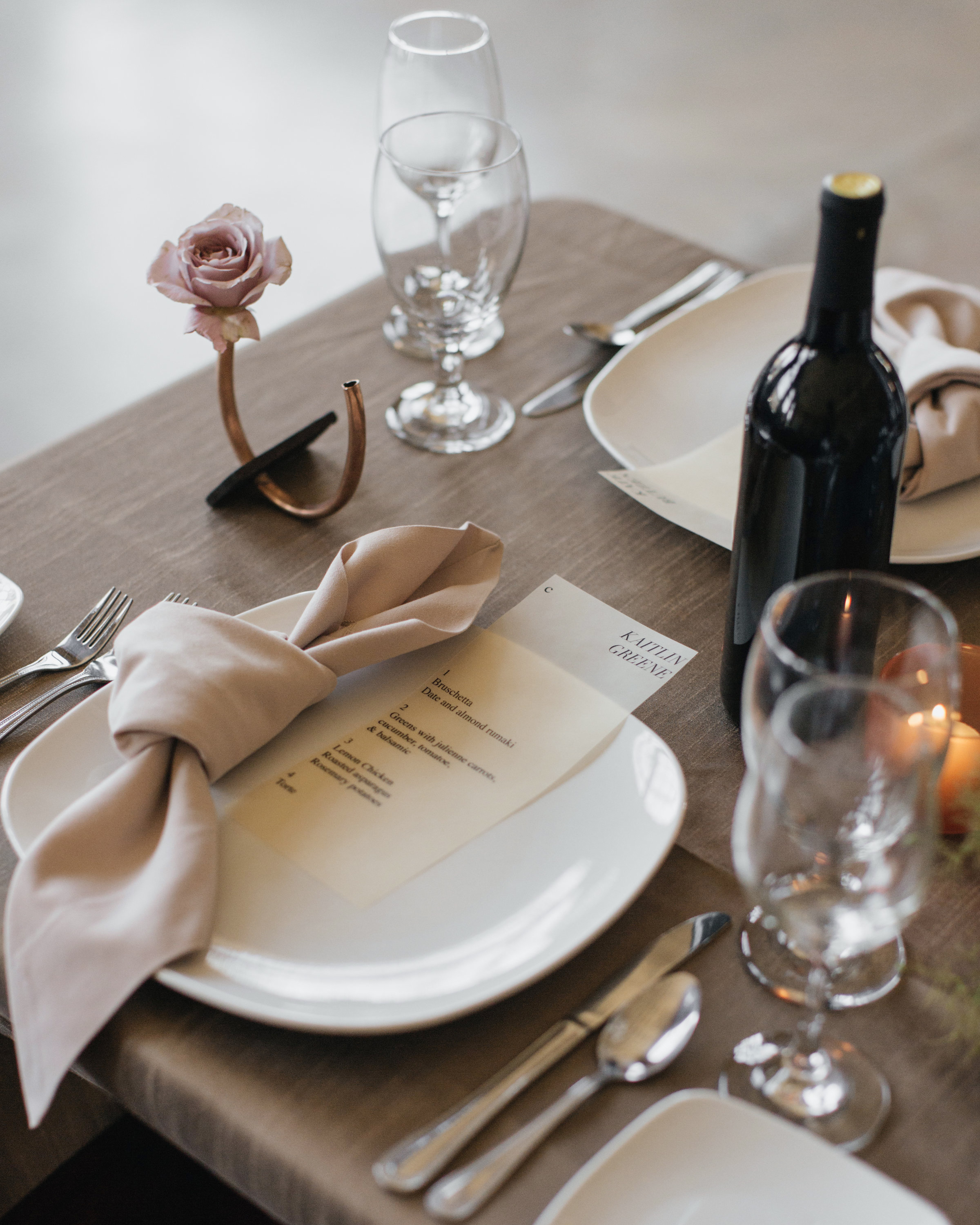 madison kyle wedding place setting