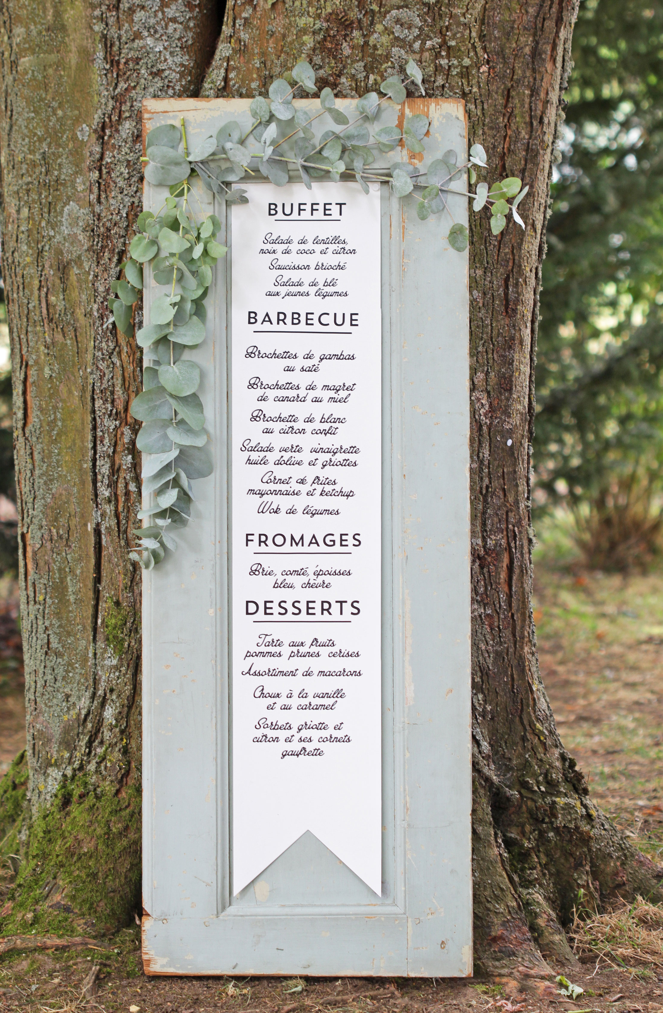 wedding menu door