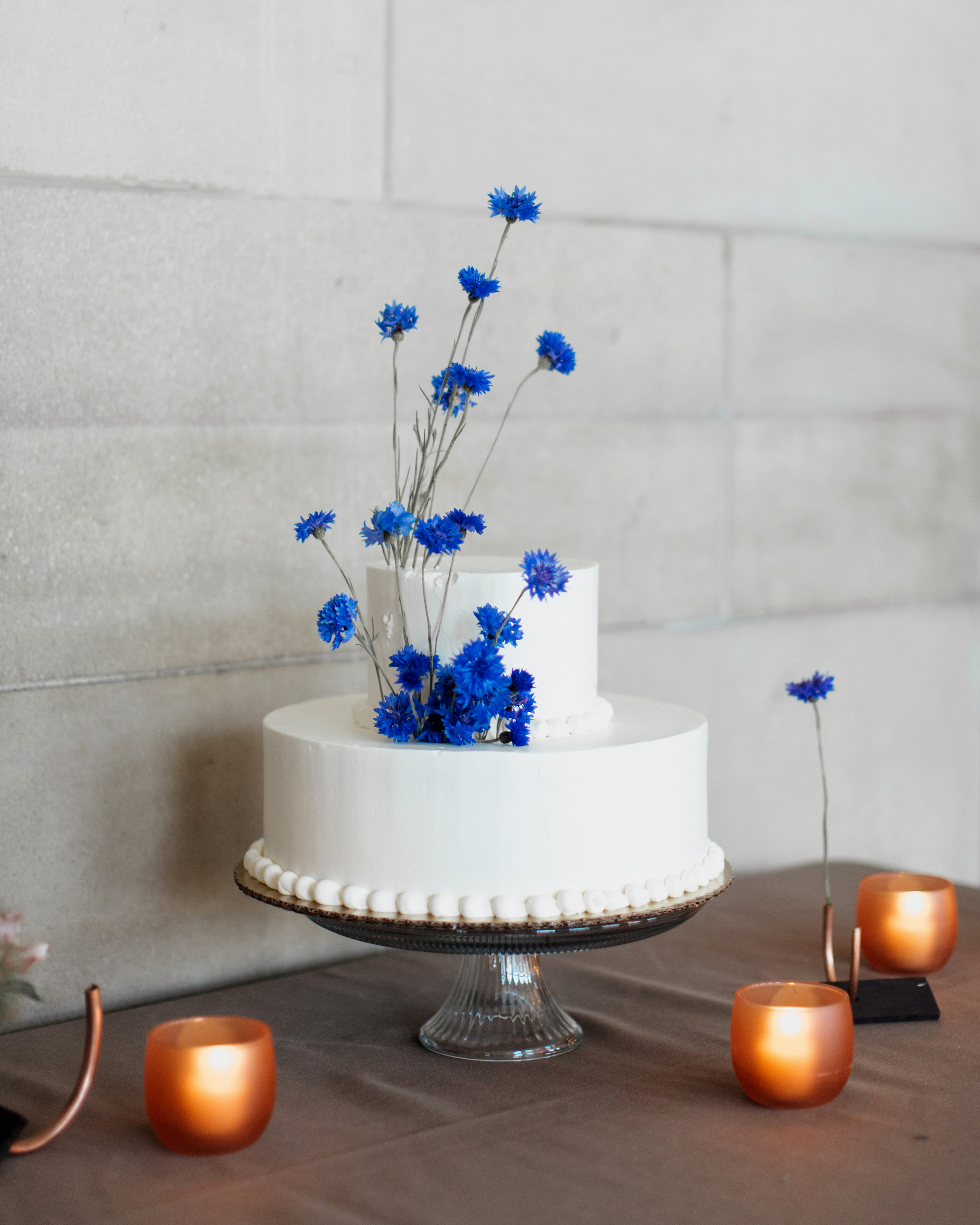 madison kyle wedding cake blue with candles