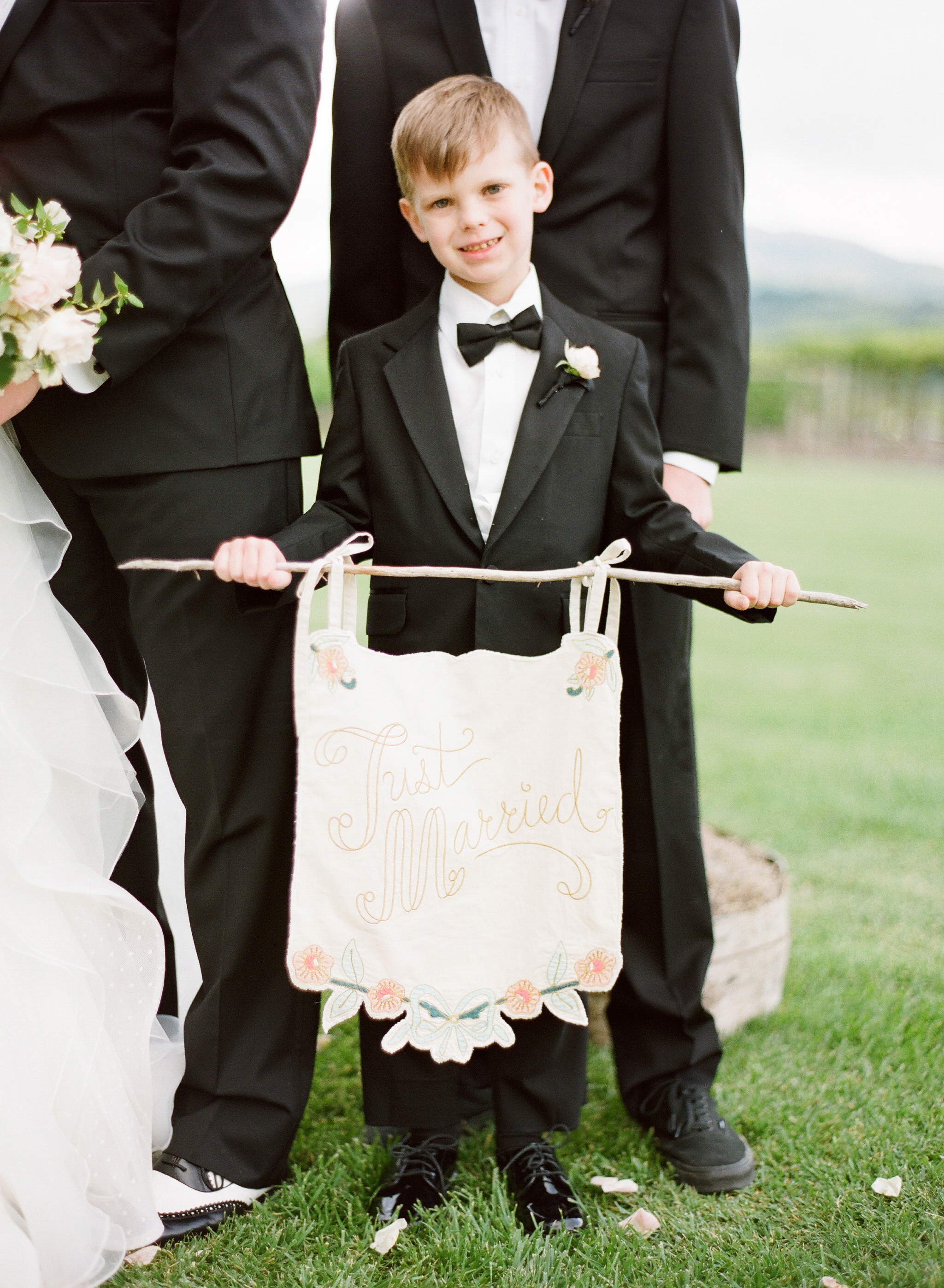 two-sided banner decor just married ring bearer
