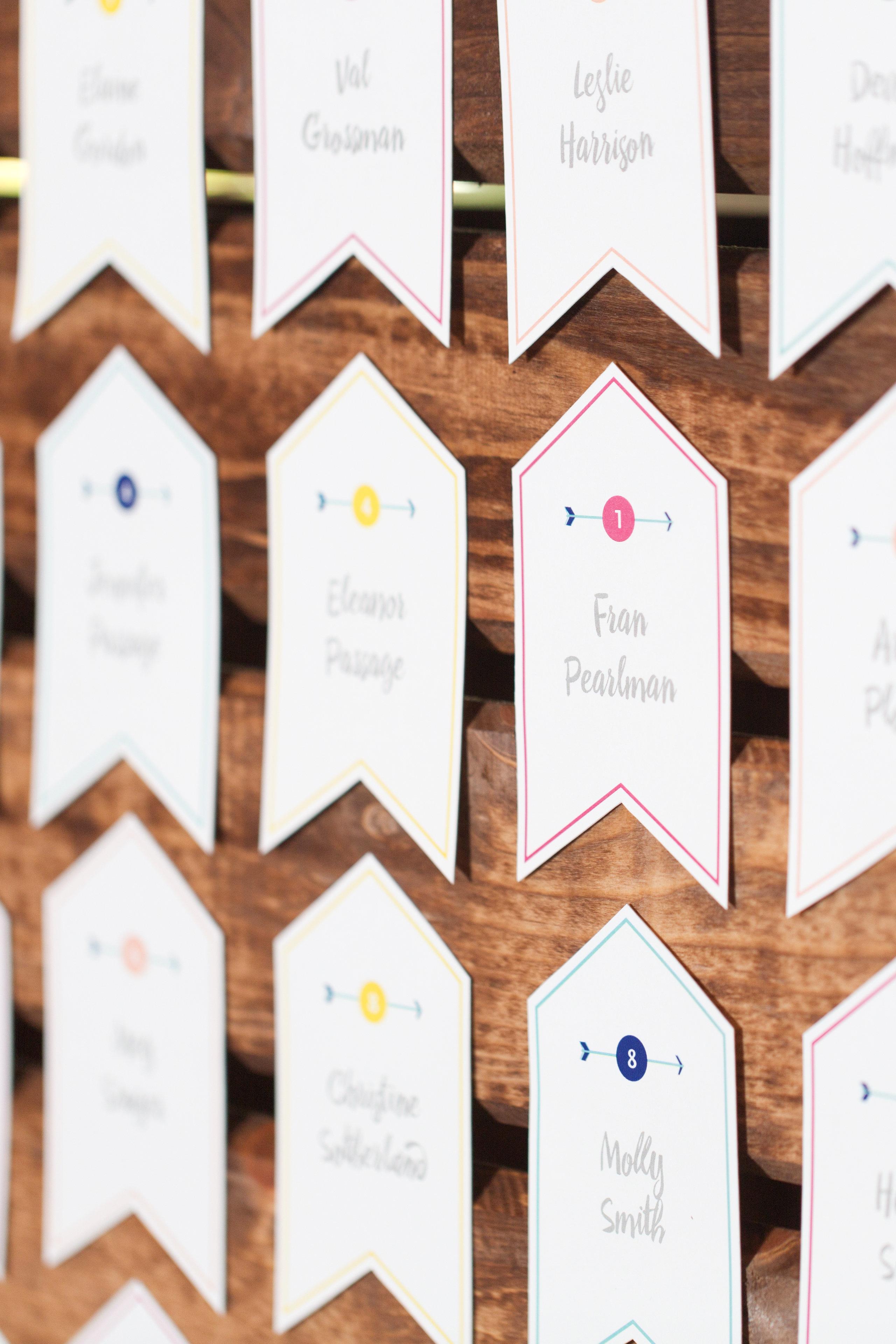 banner decor colorful escort cards
