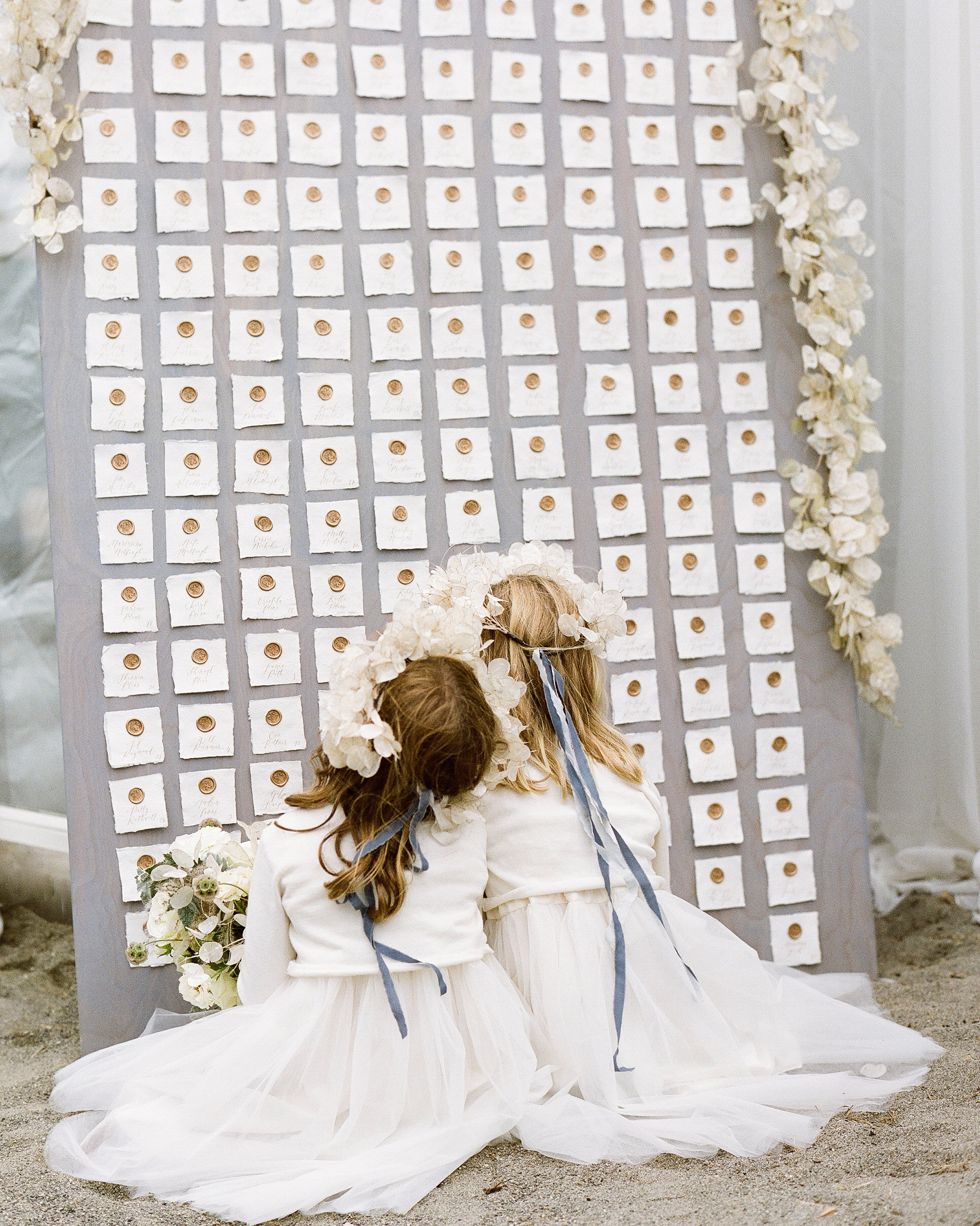 kaitlin dan wedding escort cards flower girls
