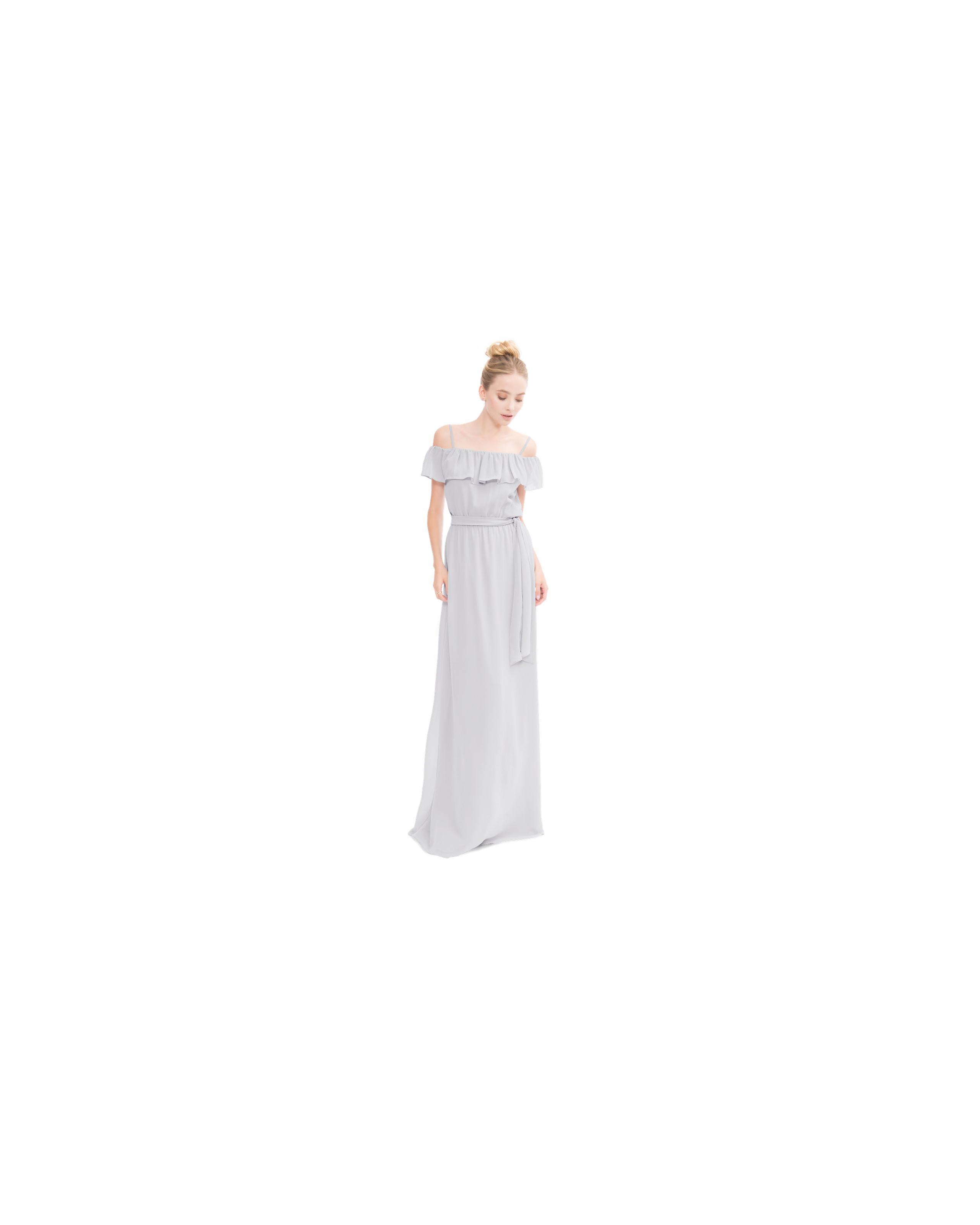 grey silver bridesmaid dresses joanna august nikki long