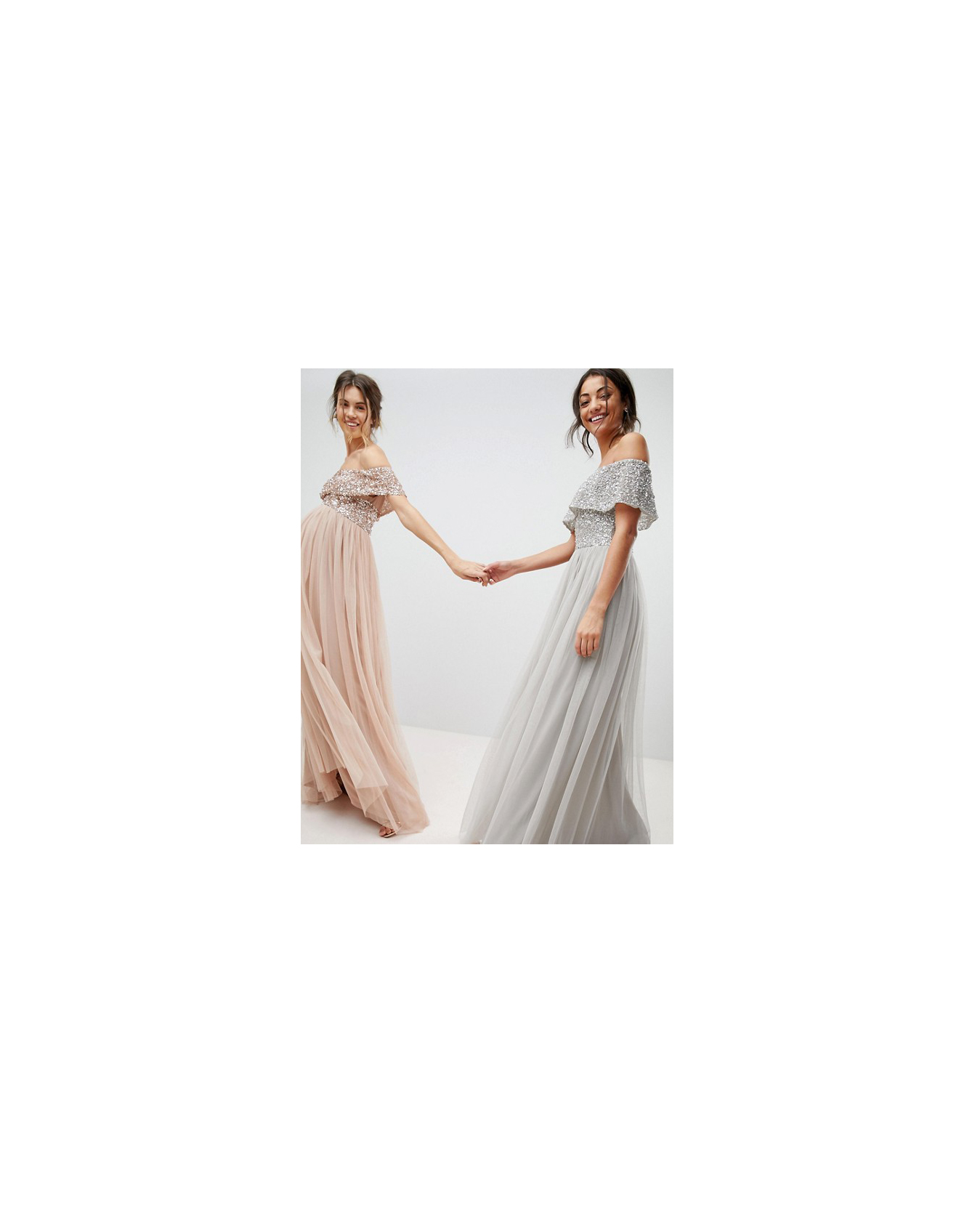 grey silver bridesmaid dresses maya tall bardot top dress