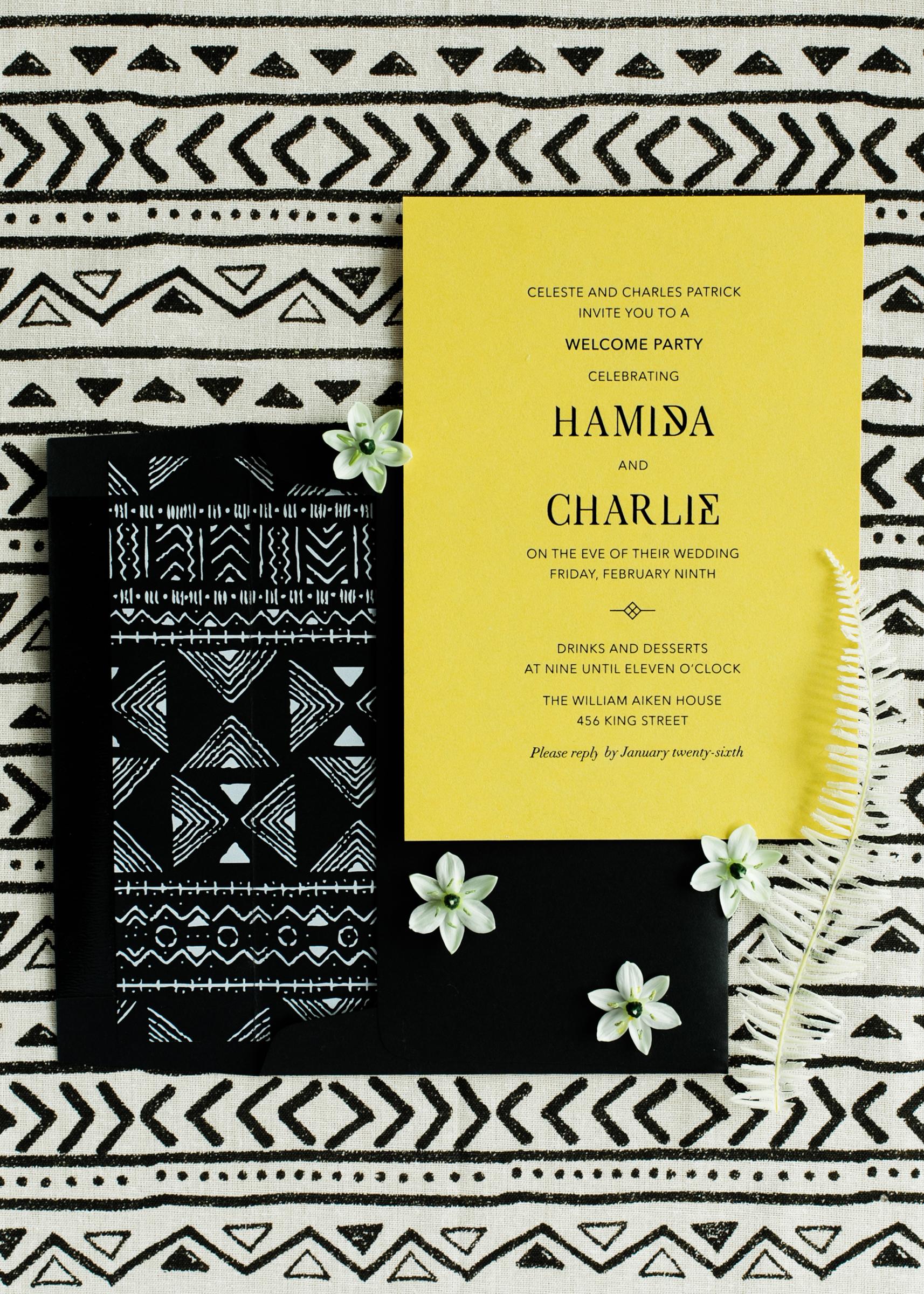 hamida charlie charleson wedding welcome party invitation