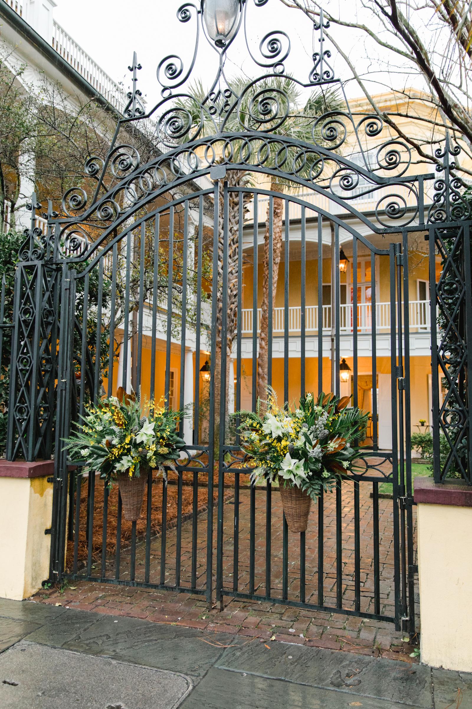 hamida charlie charleson wedding welcome party gate flowers