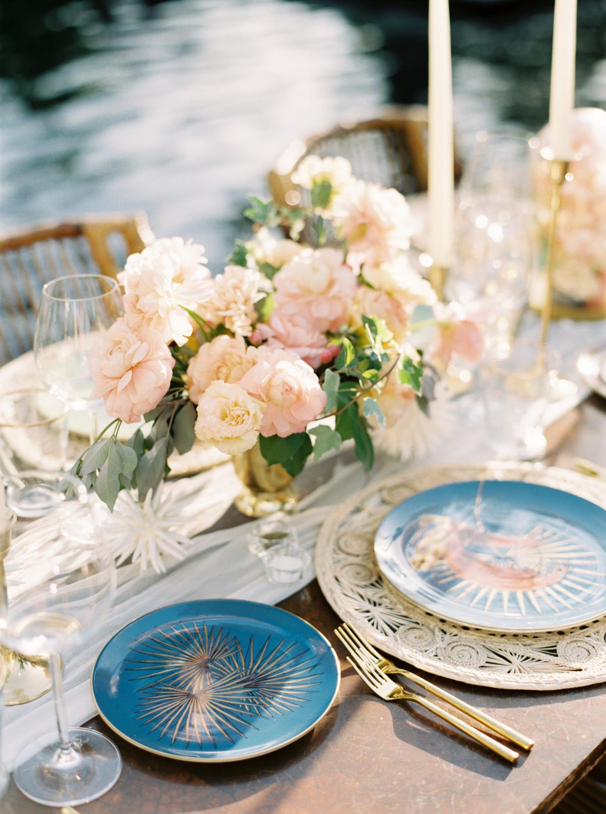 turks and caicos shoot erich mcvey tablescape blue plates florals