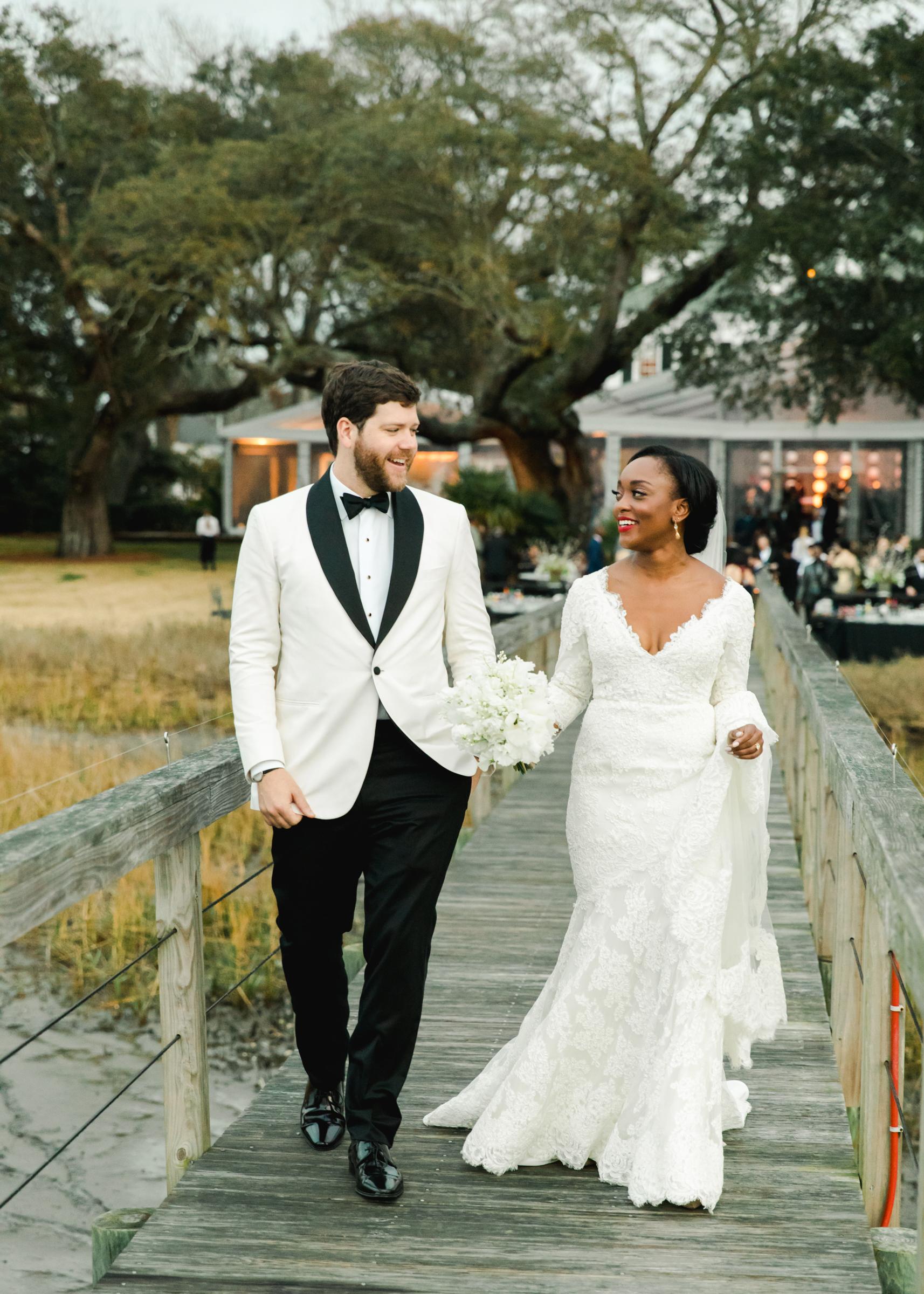 hamida charlie charleson wedding couple dock
