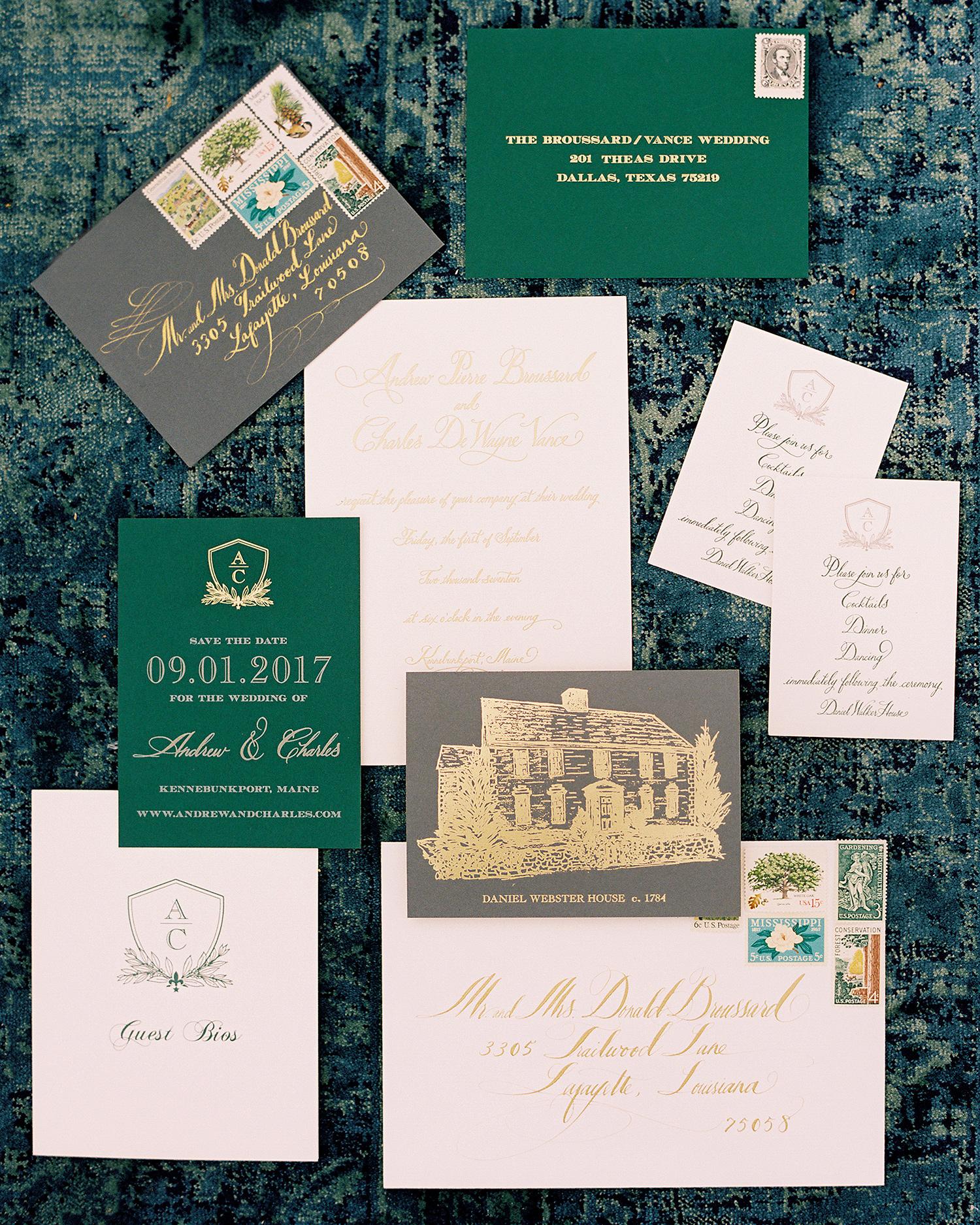 charles andrew wedding gold green stationery
