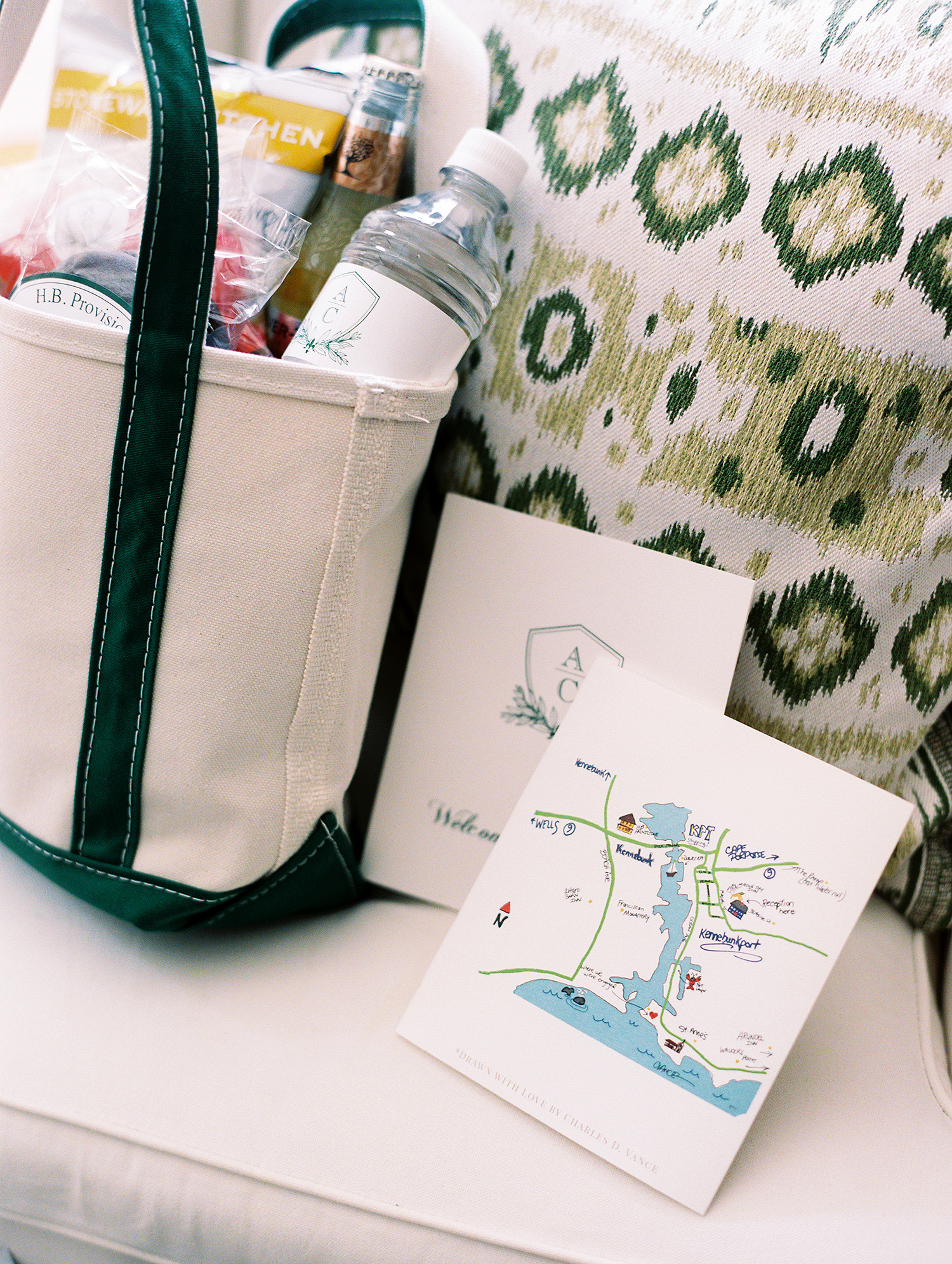 charles andrew wedding welcome bags and maps