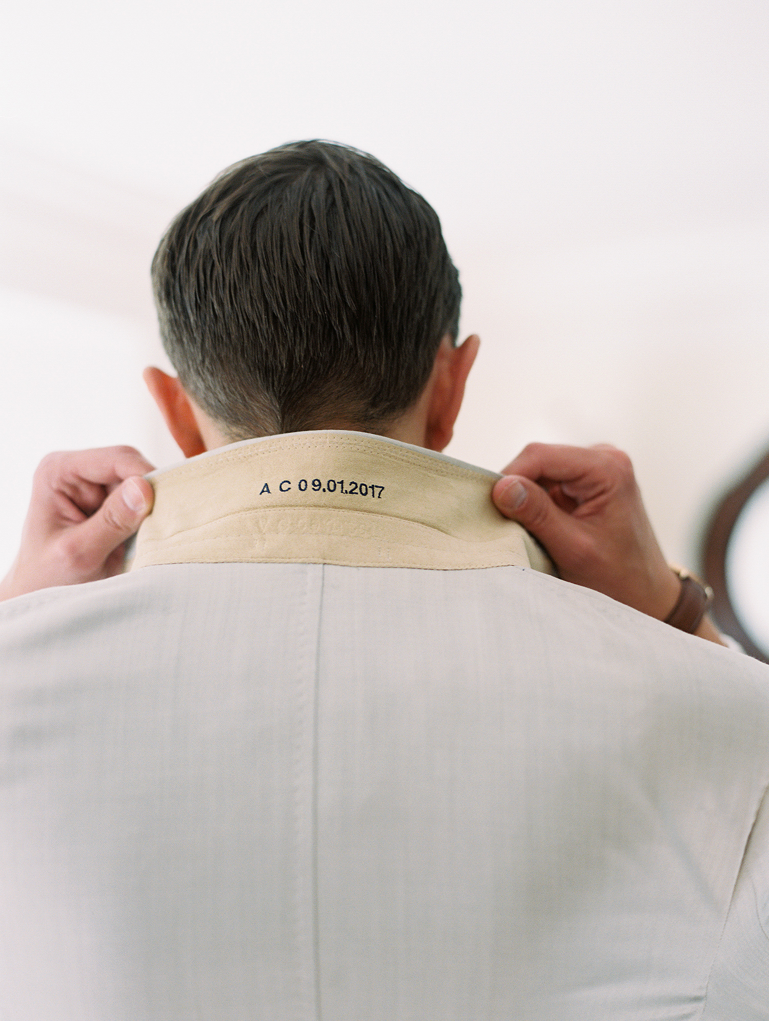 charles andrew wedding shirt embroidery with date
