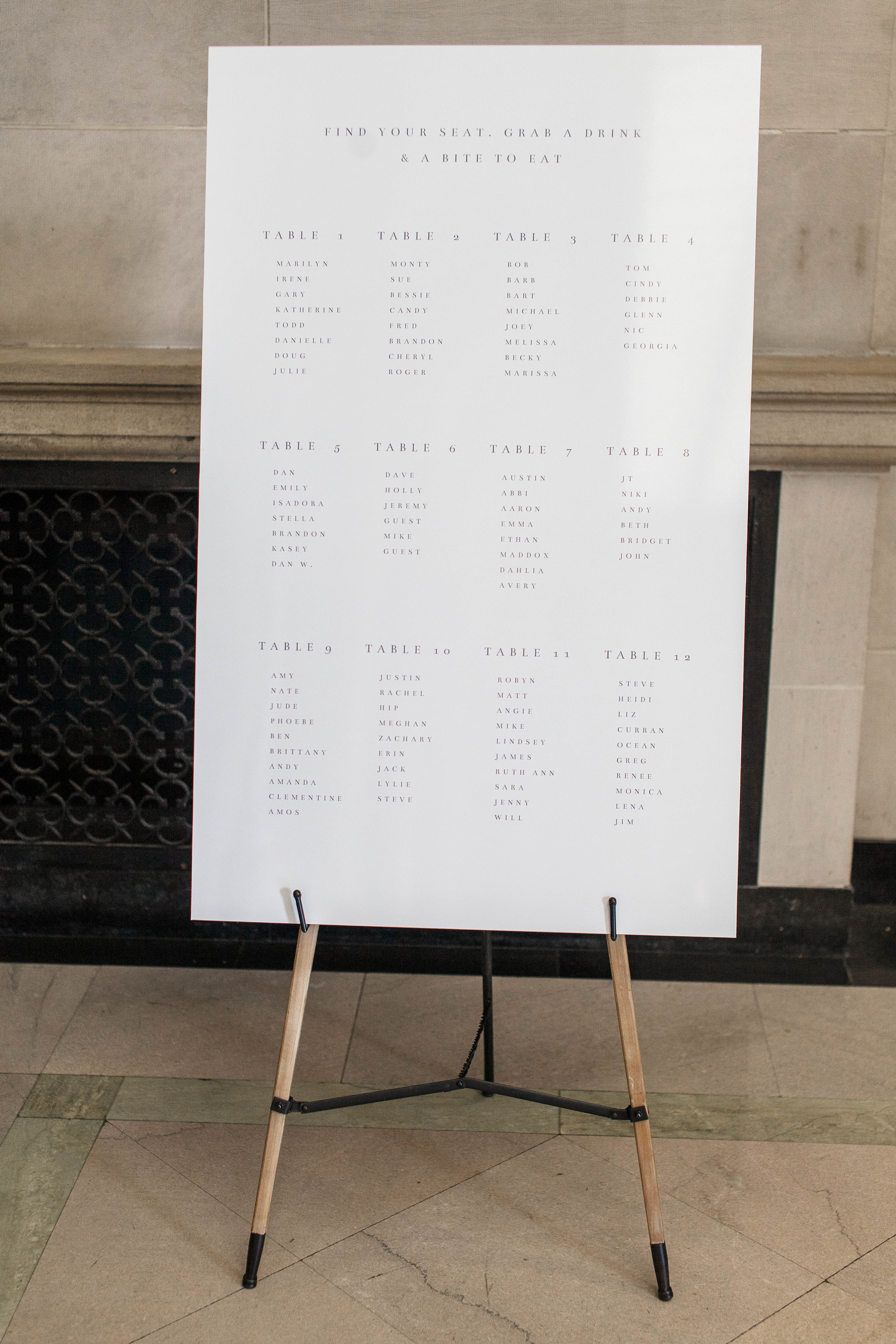 katie matthew ohio wedding seating chart