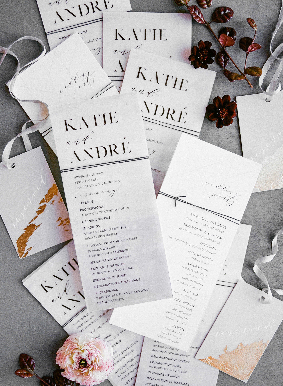 katie andre wedding programs
