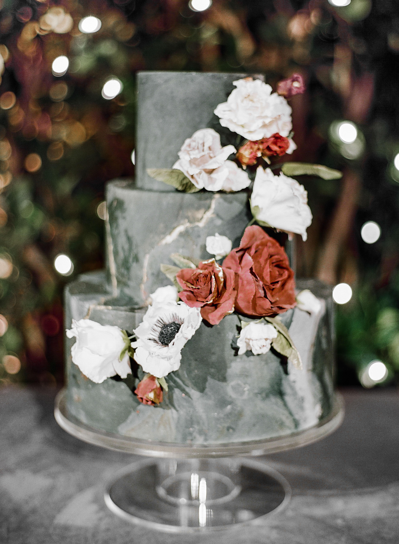 katie andre wedding cake flowers three-tier