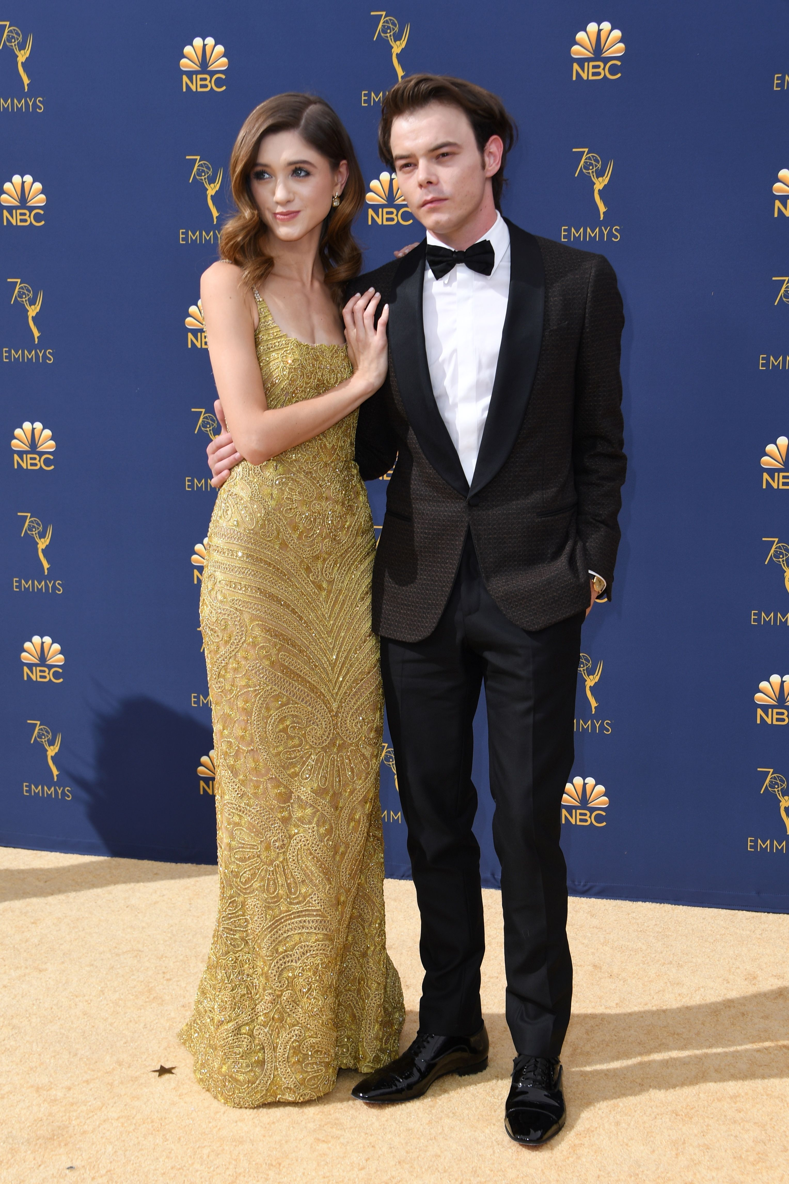 Natalia Dyer and Charlie Heaton Emmys 2018