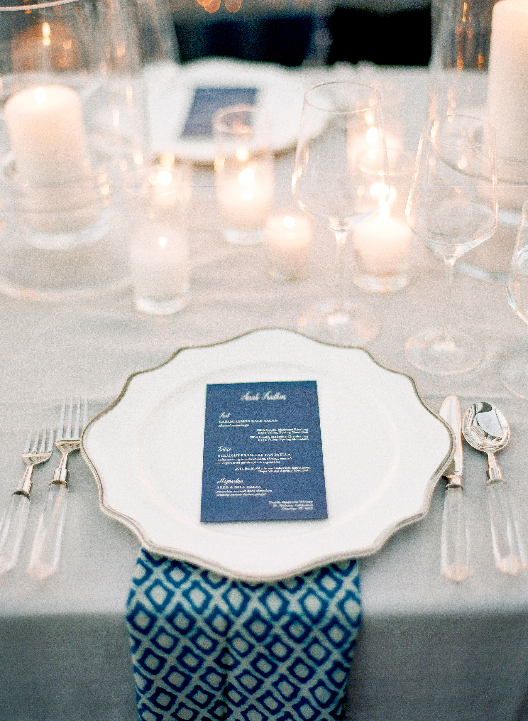 jenna alok welcome party place setting