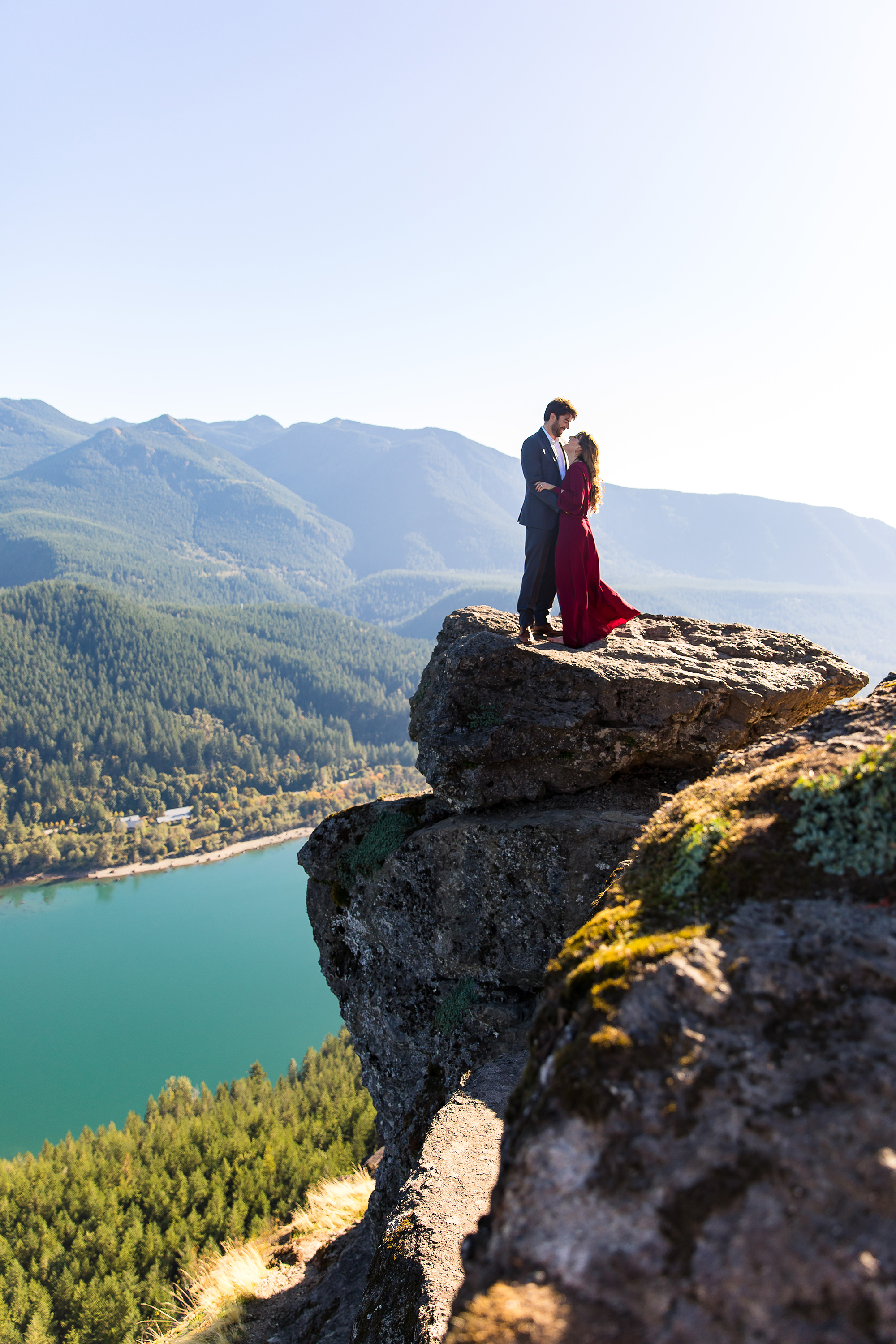 couple on cliff outdoor engagement photos