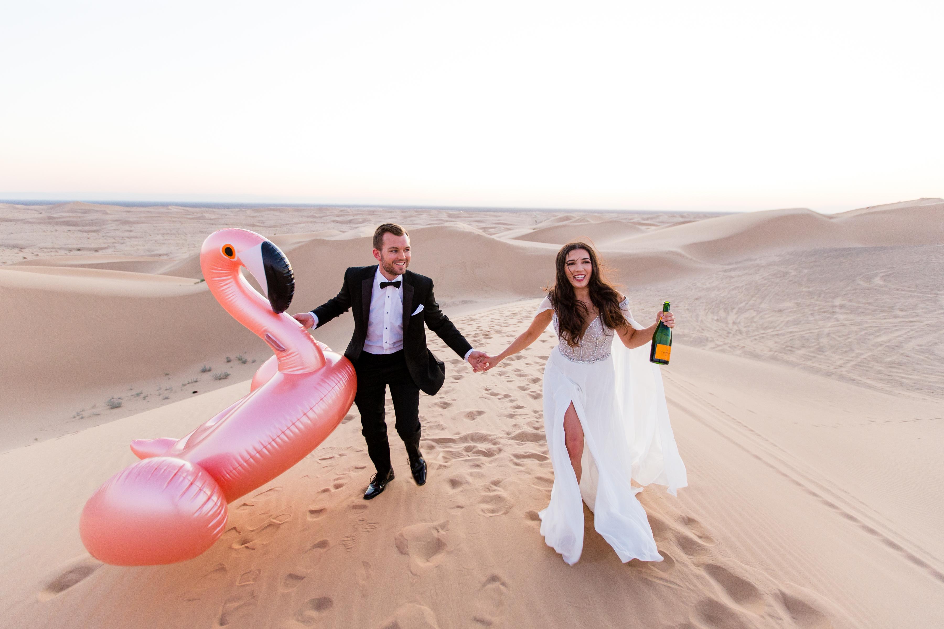 outdoor engagement photo in desert