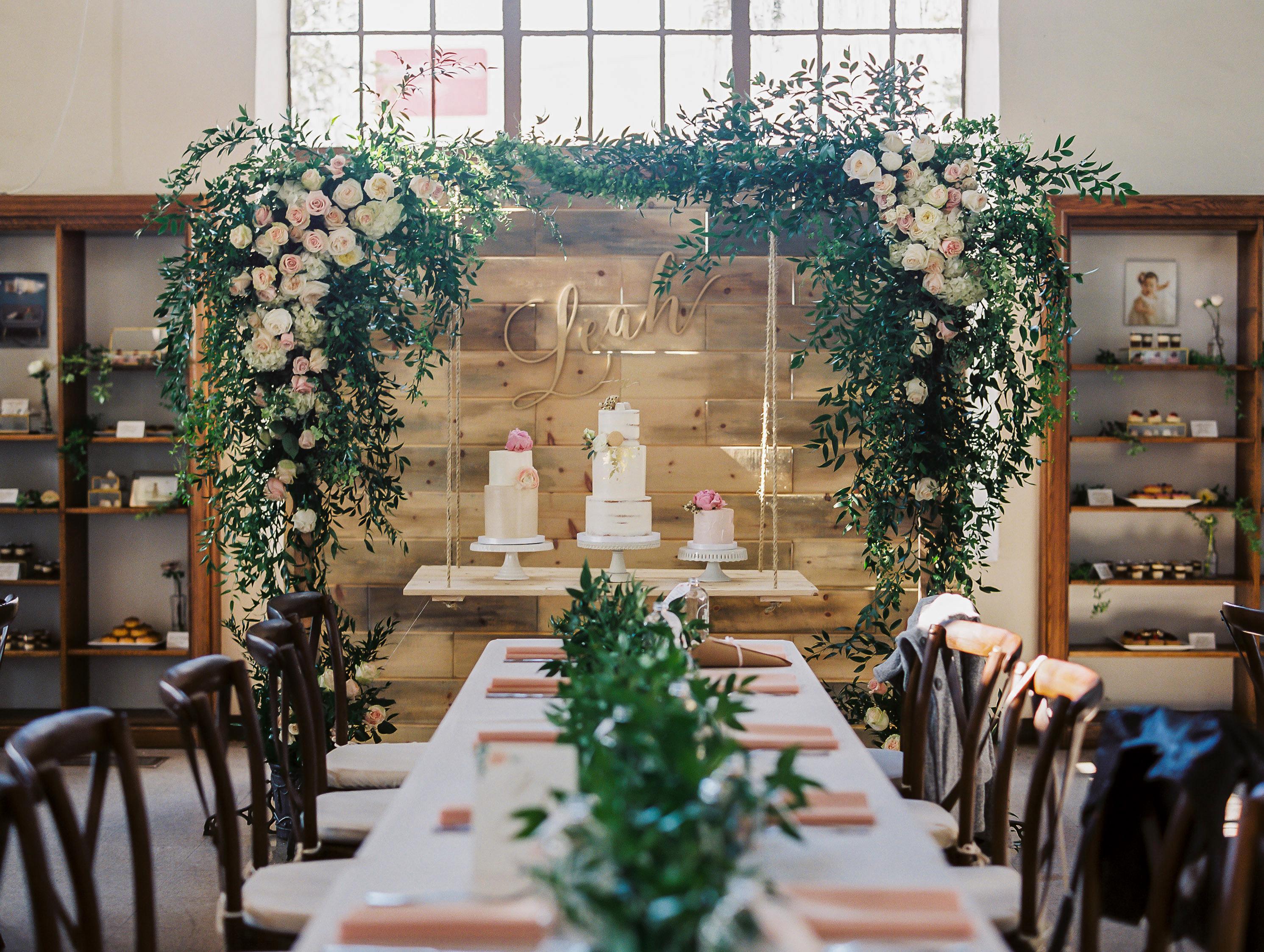 suspended wedding cake tables erin j saldana