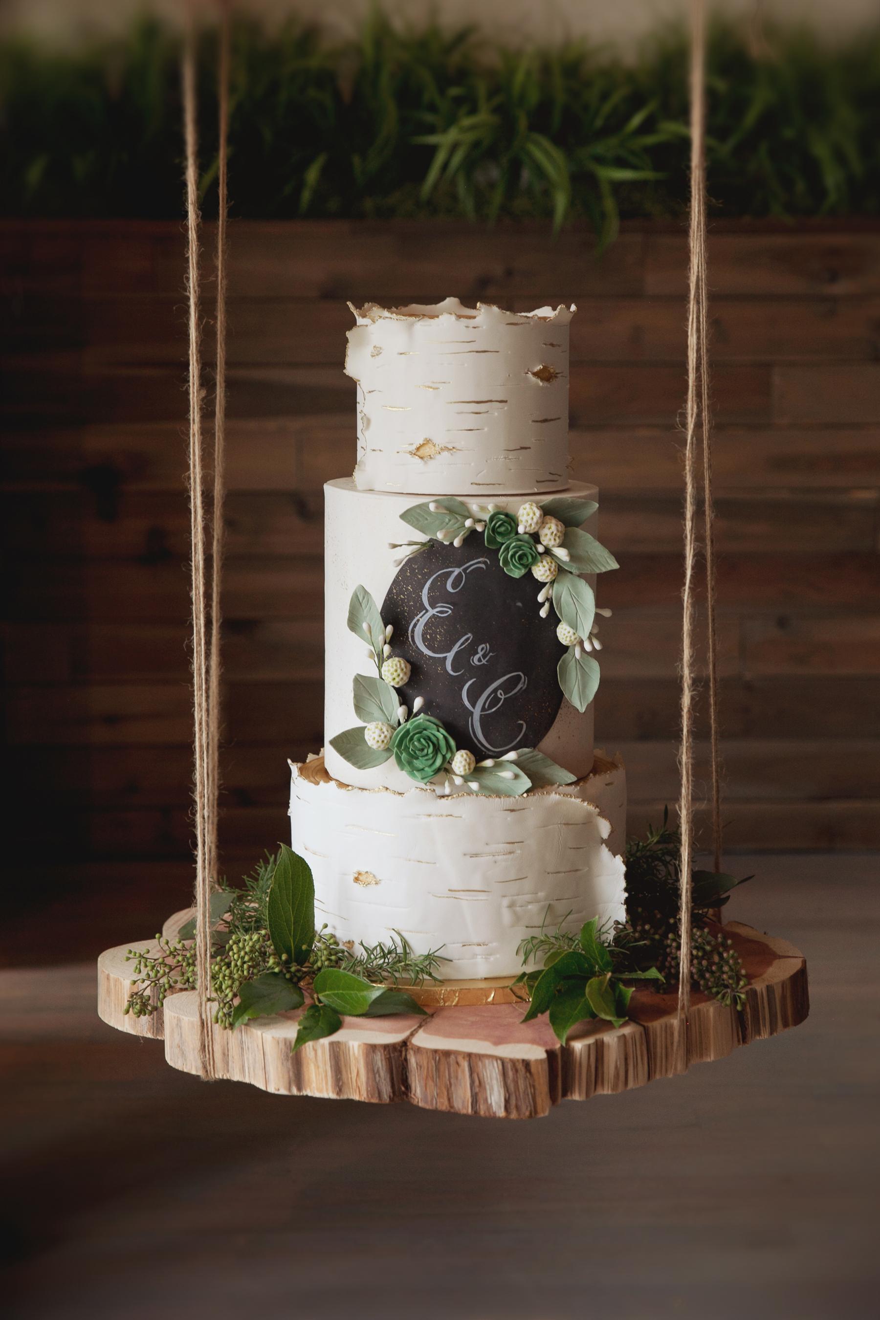 Birch Tree Wedding Cake with Chalkboard
