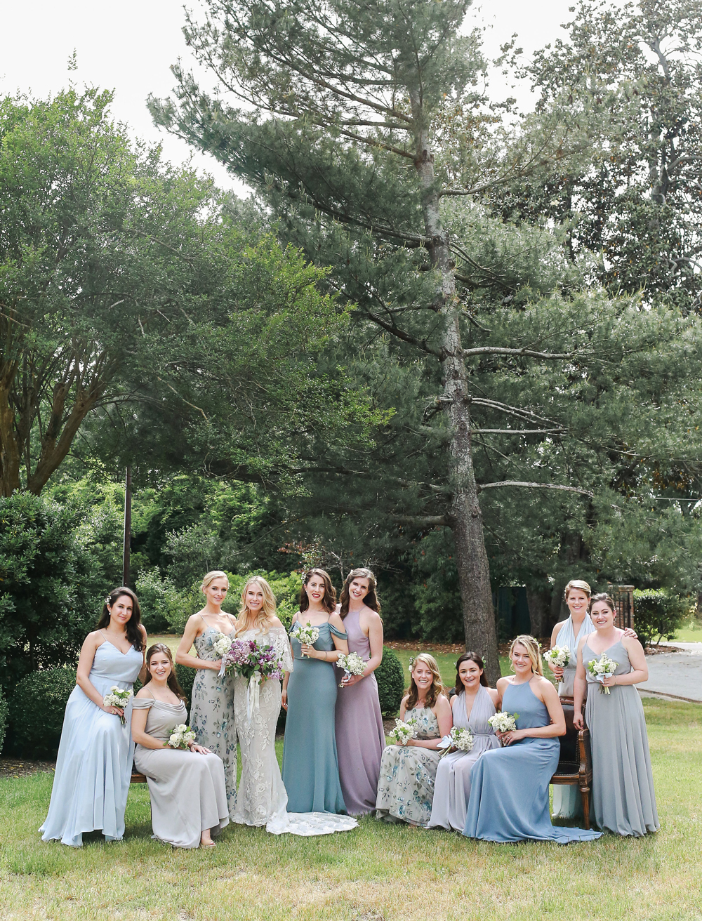 Blue and Purple Bridesmaids' Dresses