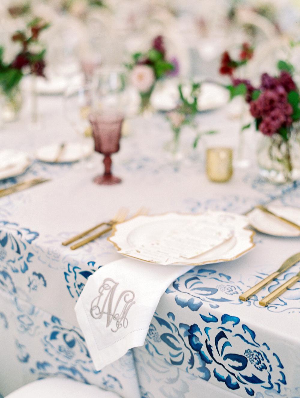 julia mitchell wedding place setting monogram
