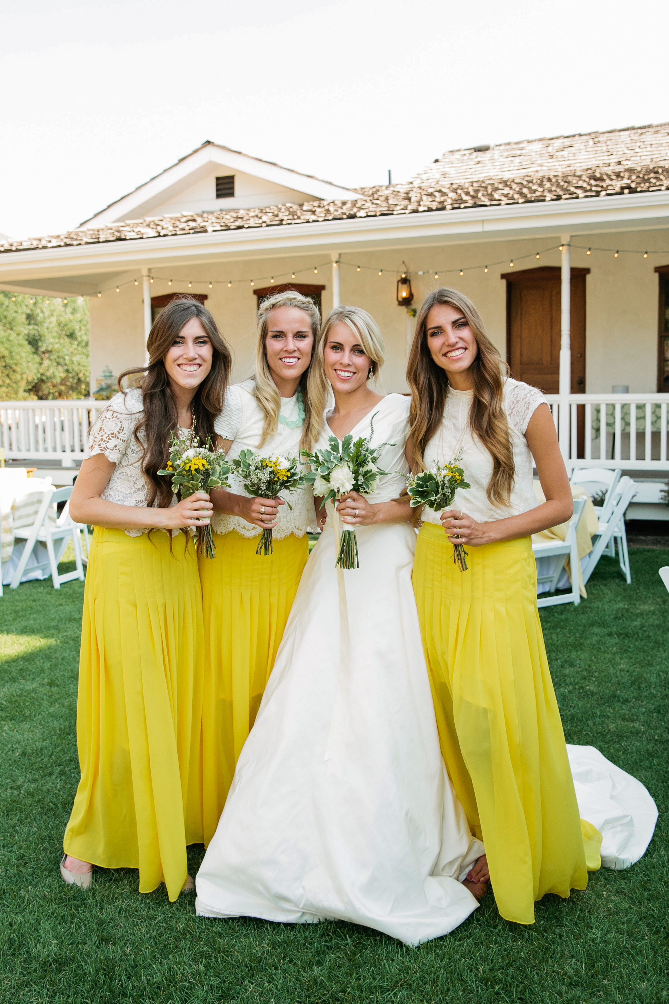 two piece bridesmaids callie hobbs photography yellow
