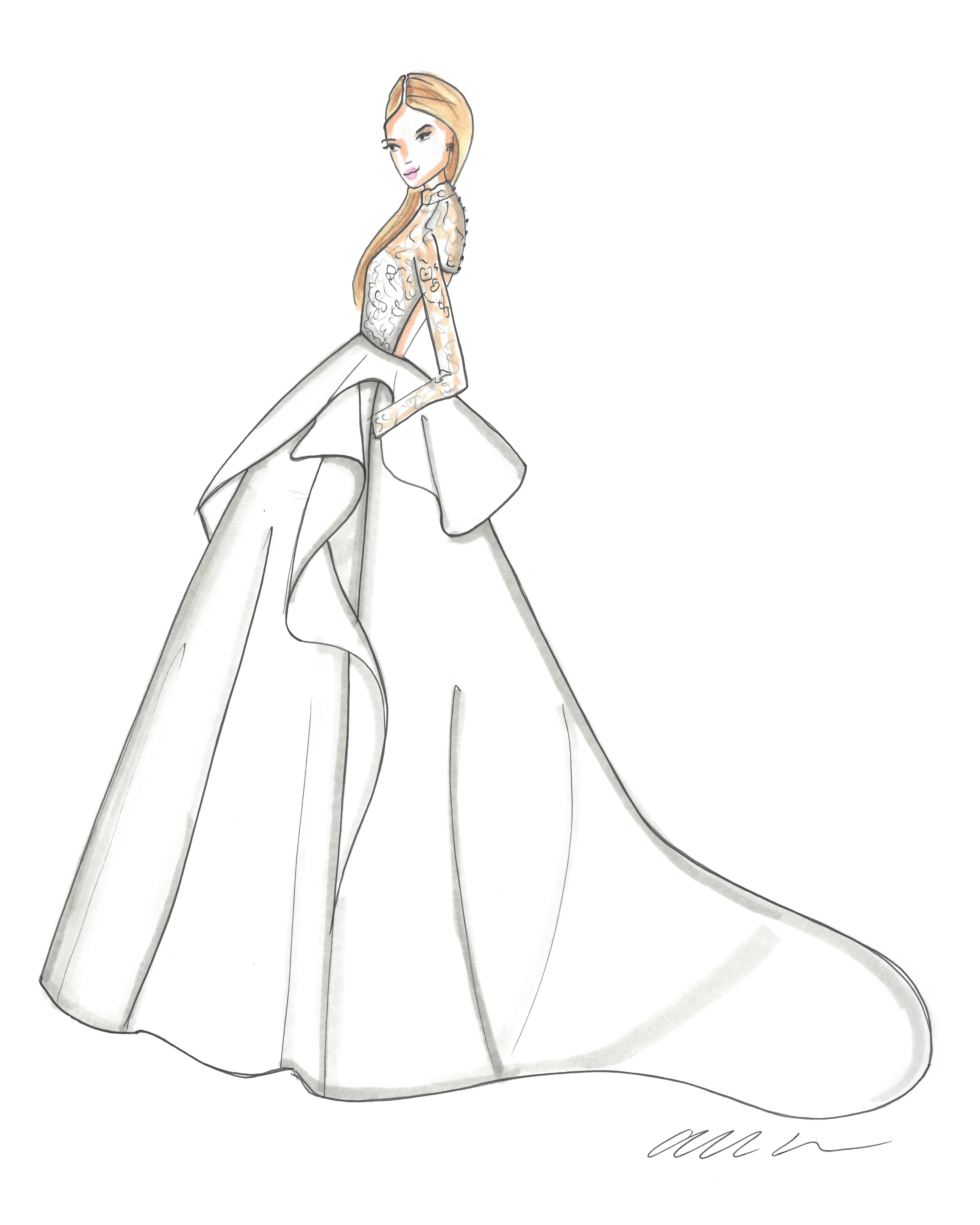 bridal fashion week sketches fall 2019 allison webb
