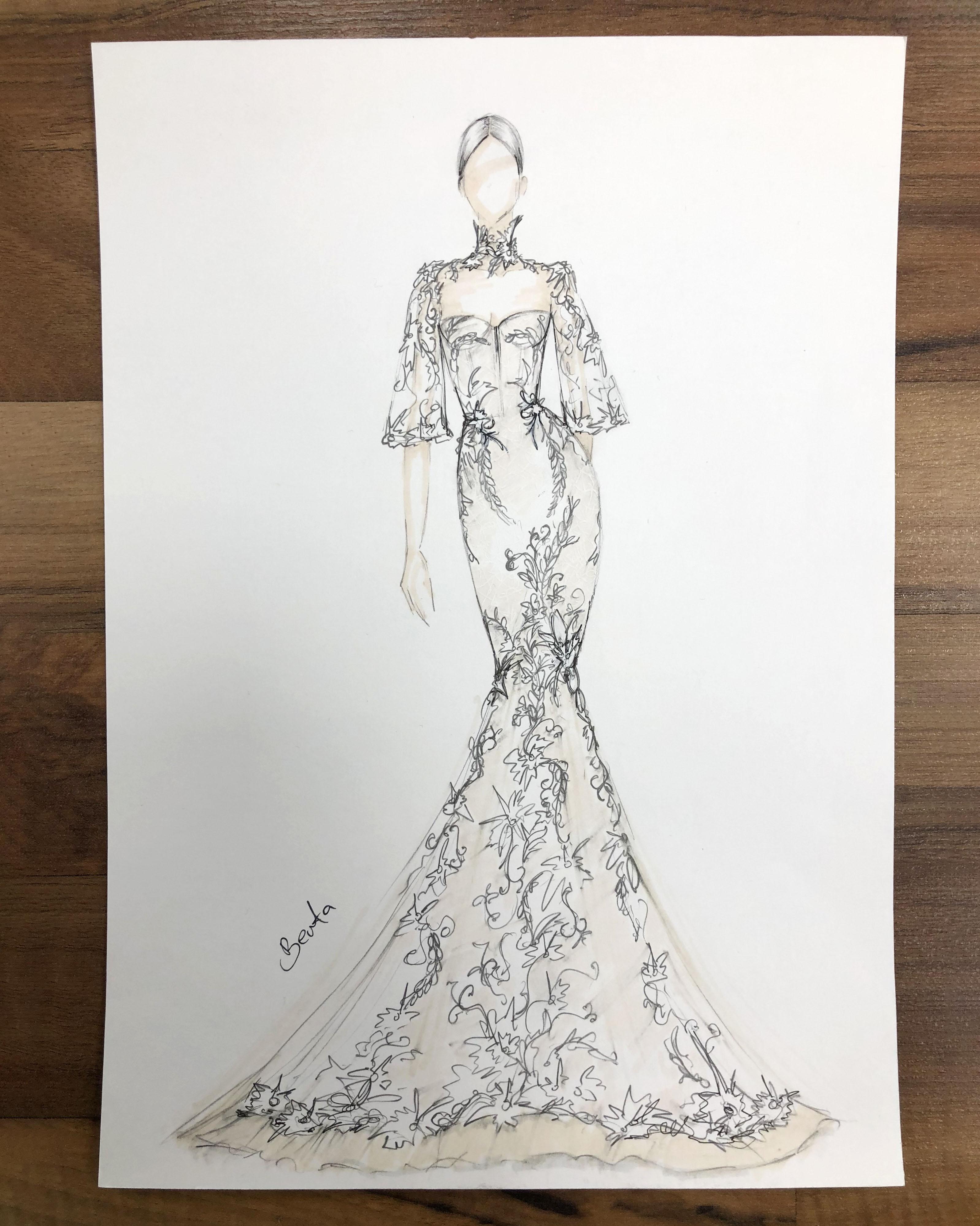 bridal fashion week sketches fall 2019 berta