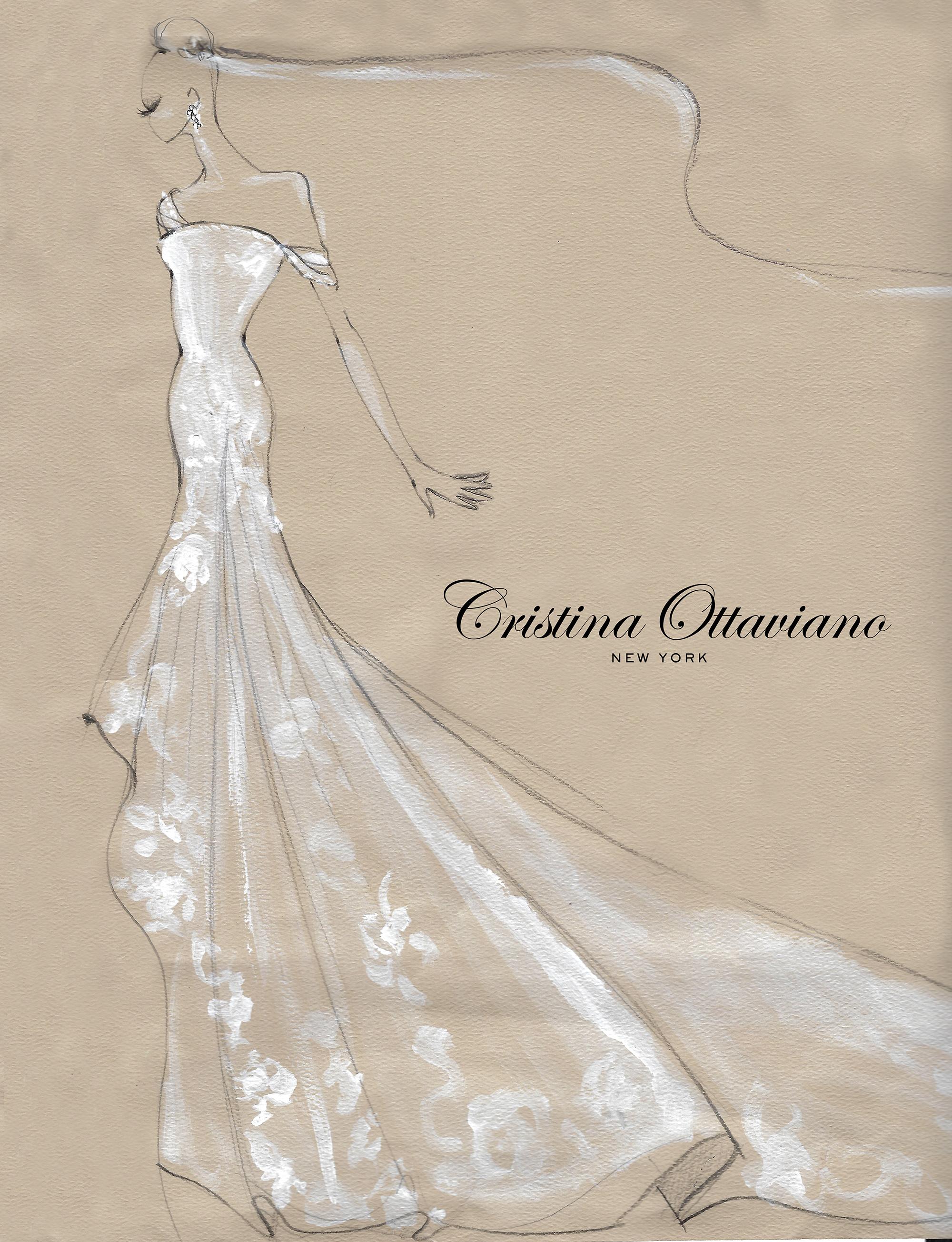 Cristina Ottaviano Fall 2019 Bridal Fashion Week Sketch