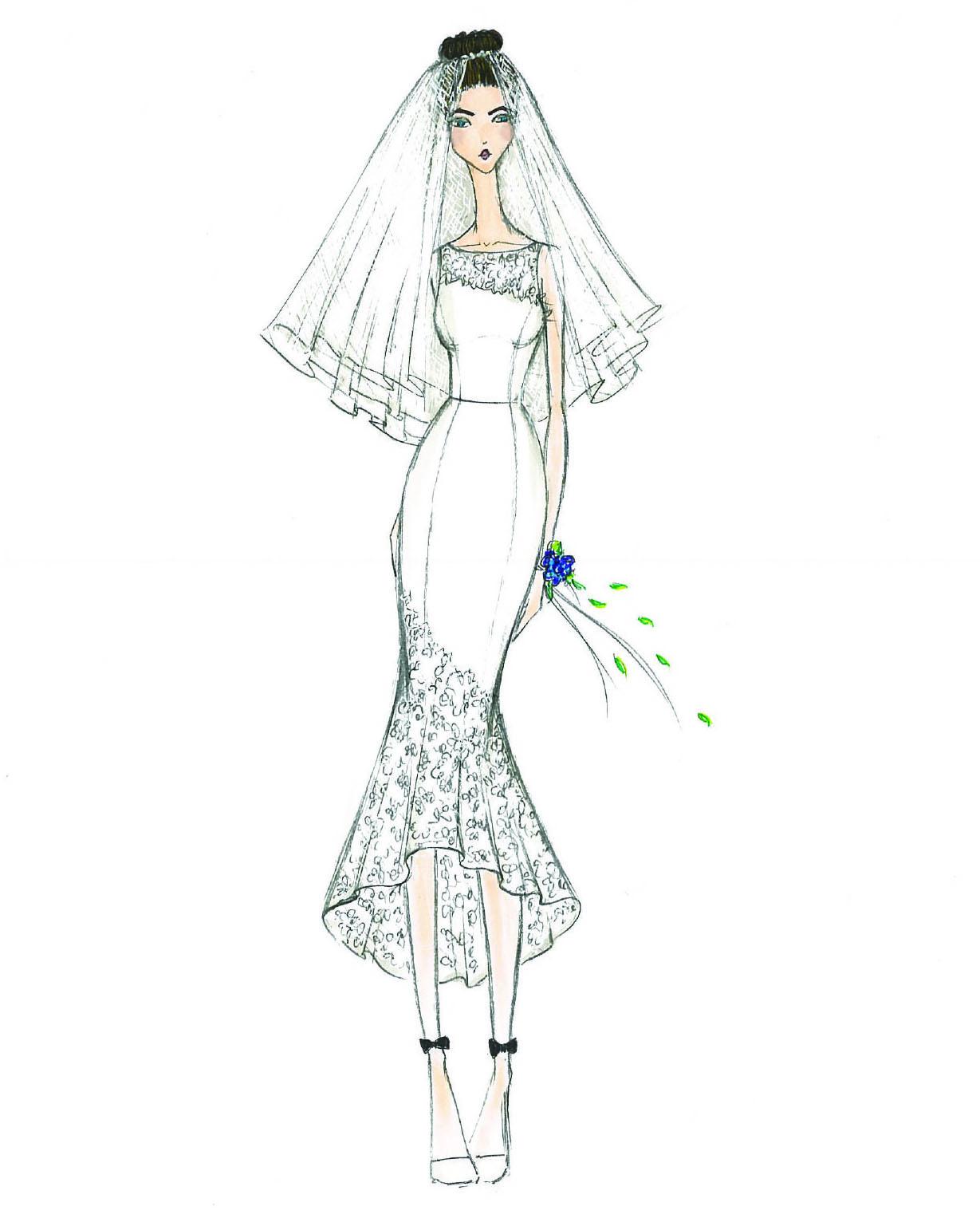 bridal fashion week sketches fall 2019 db studio