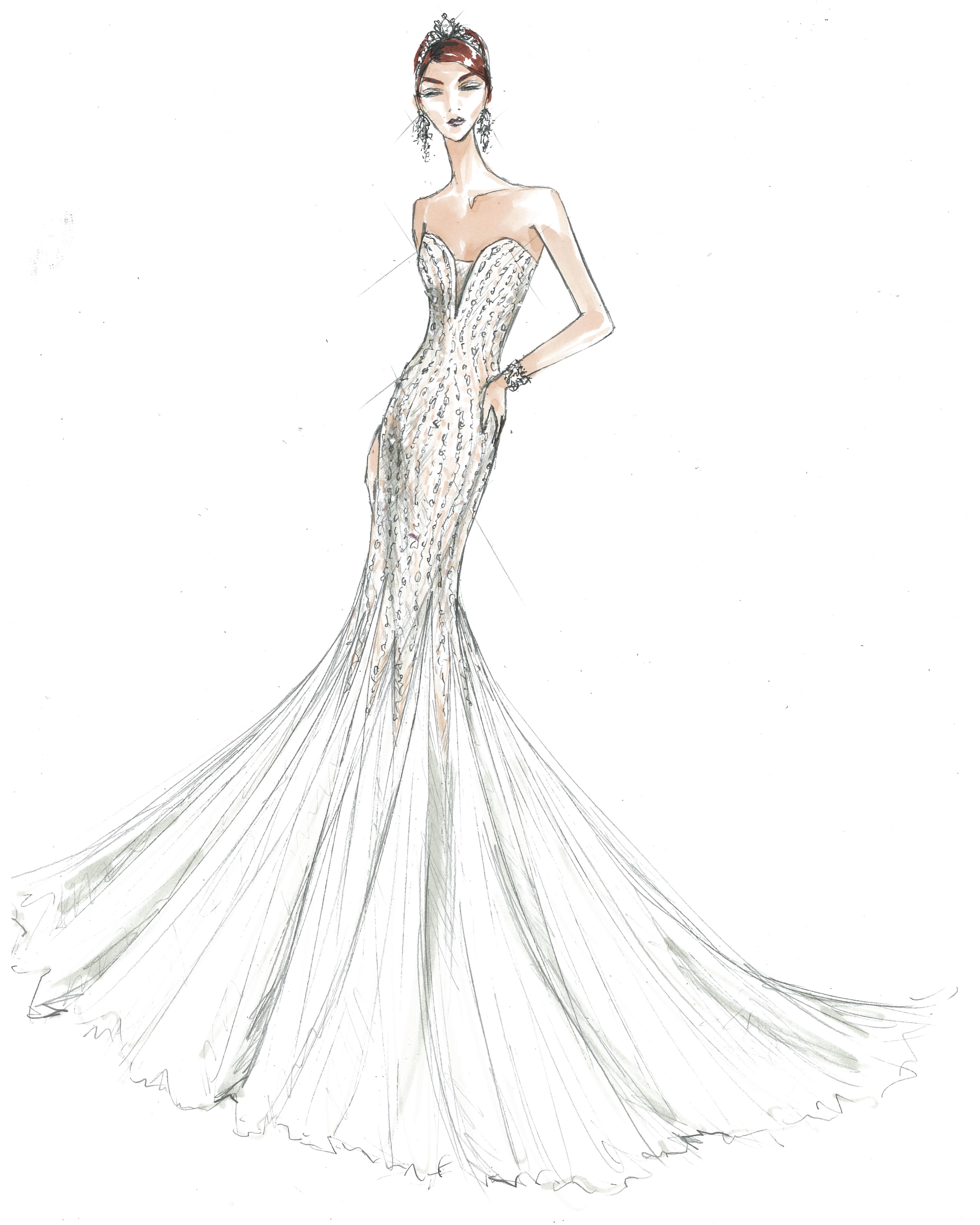 bridal fashion week sketches fall 2019 galina signature