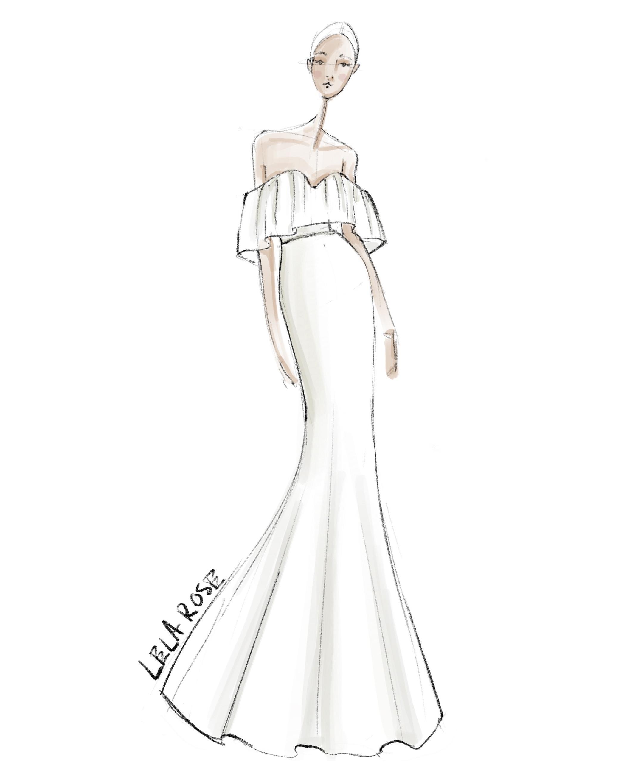 bridal fashion week sketches fall 2019 lela rose