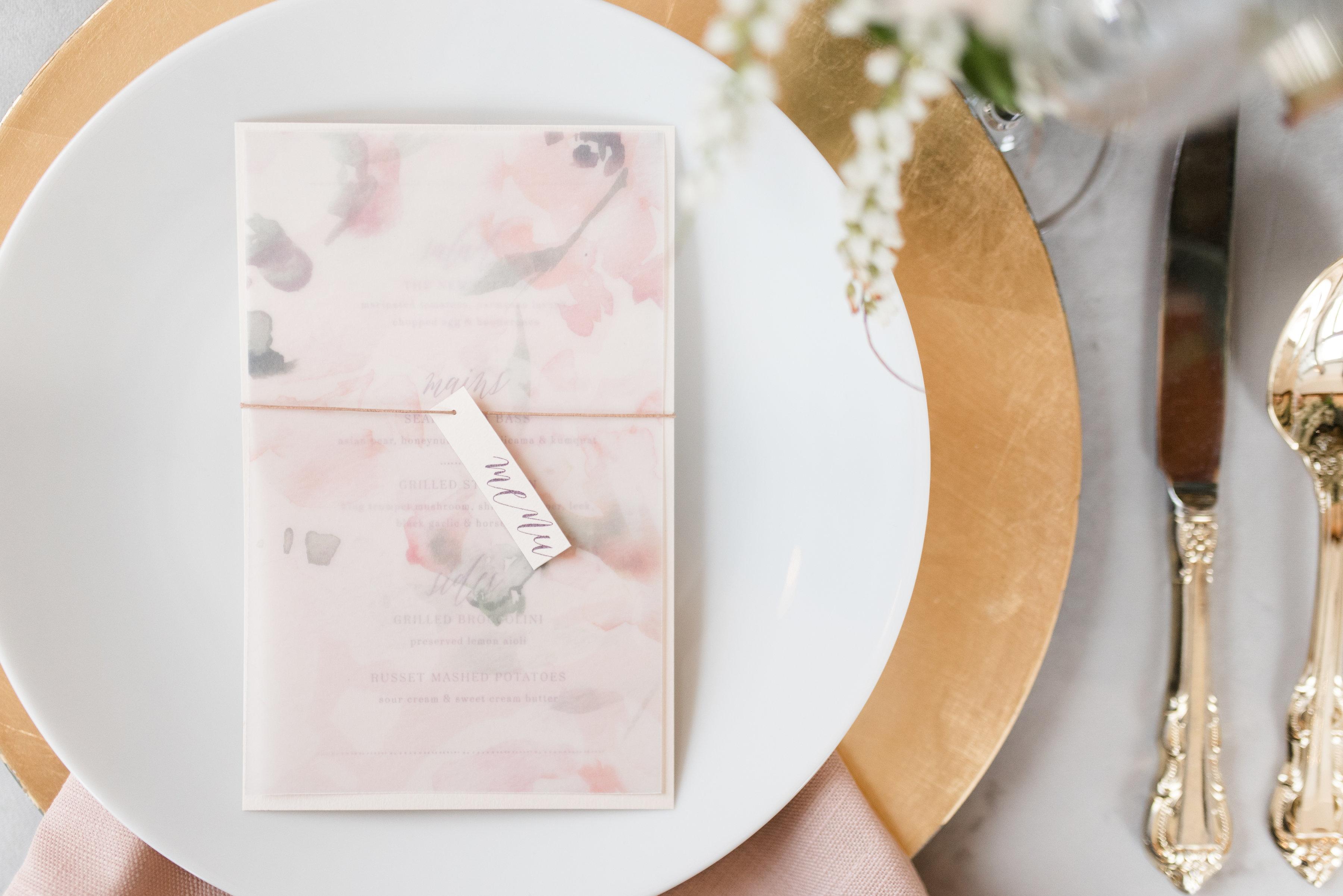 vellum floral overlay on pink menu