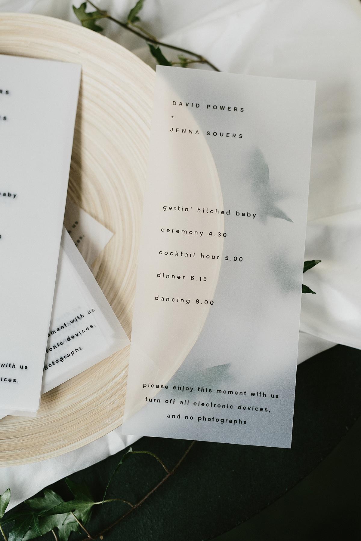 vellum wedding schedule