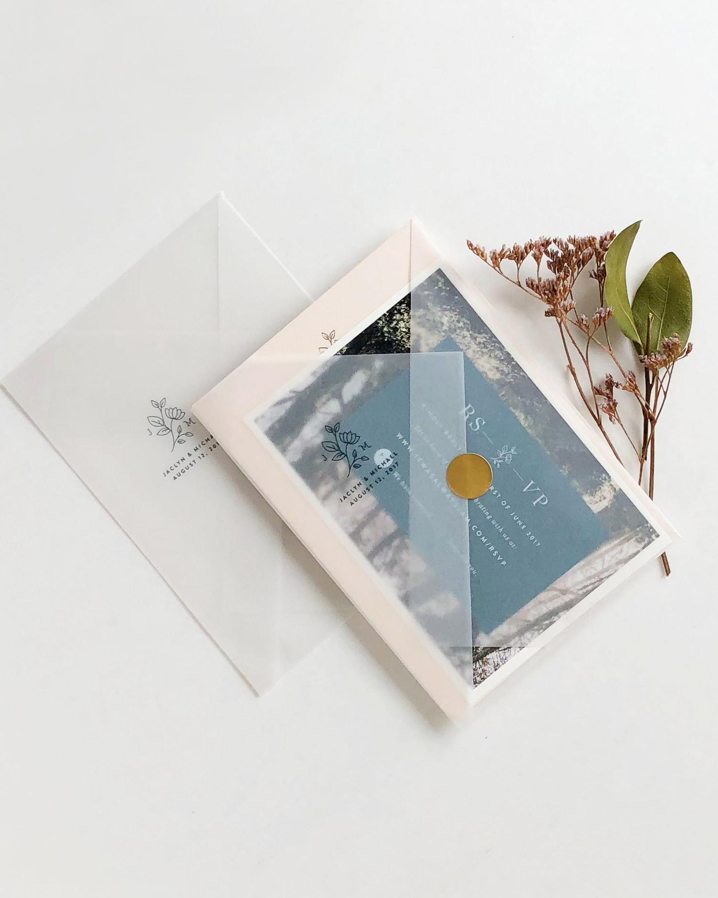 vellum envelope with printed logo