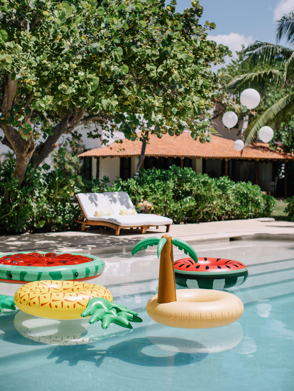 ariel trevor wedding tulum mexico pool party fruit