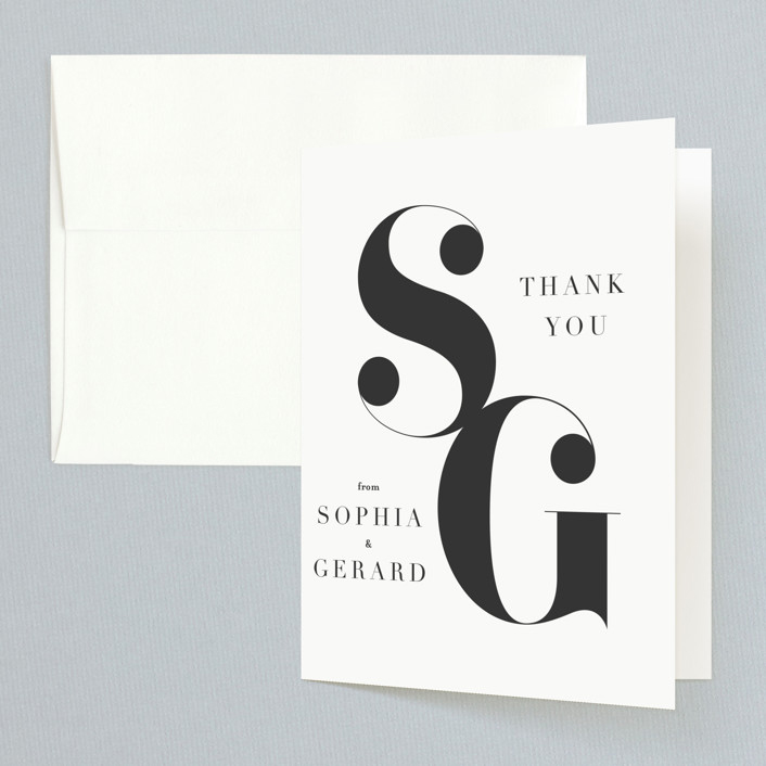 thank you notes minted modern initials